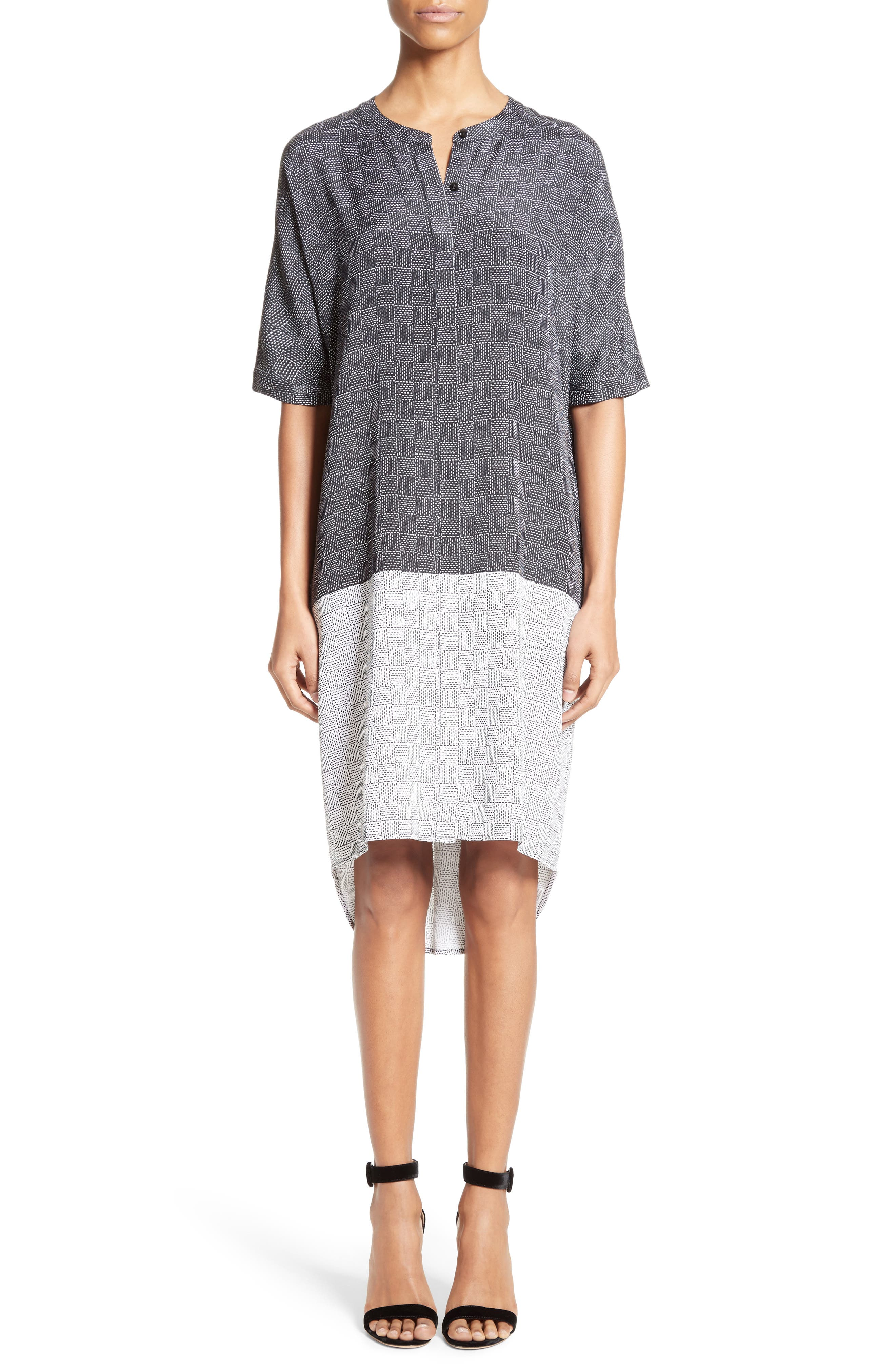 Stitching Print Stretch Silk Shirtdress,                         Main,                         color, Caviar/ Bianco