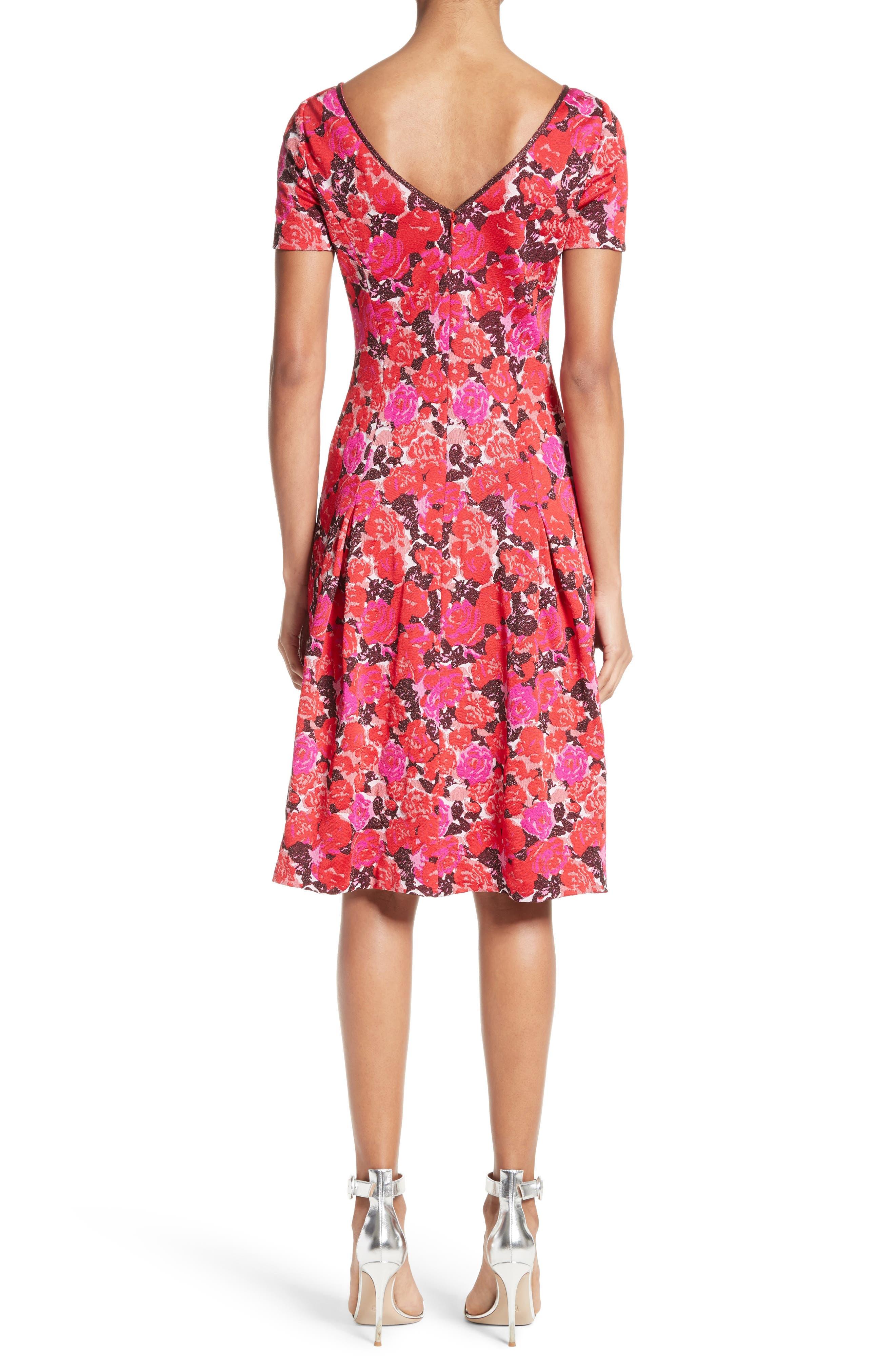 Alternate Image 2  - St. John Collection Indian Rose Blister Jacquard Dress