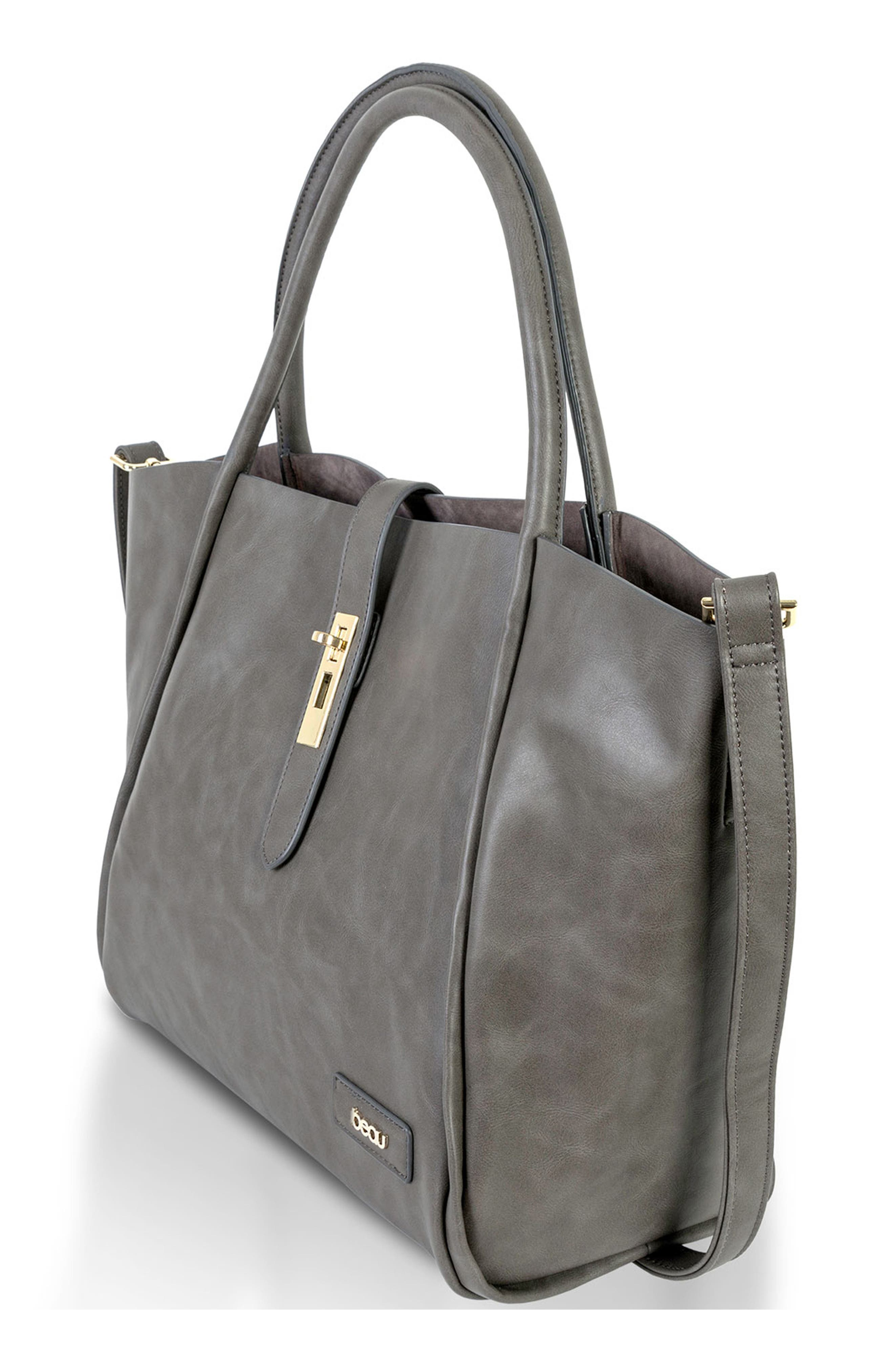 Caris Faux Leather Diaper Tote,                             Alternate thumbnail 3, color,                             Grey