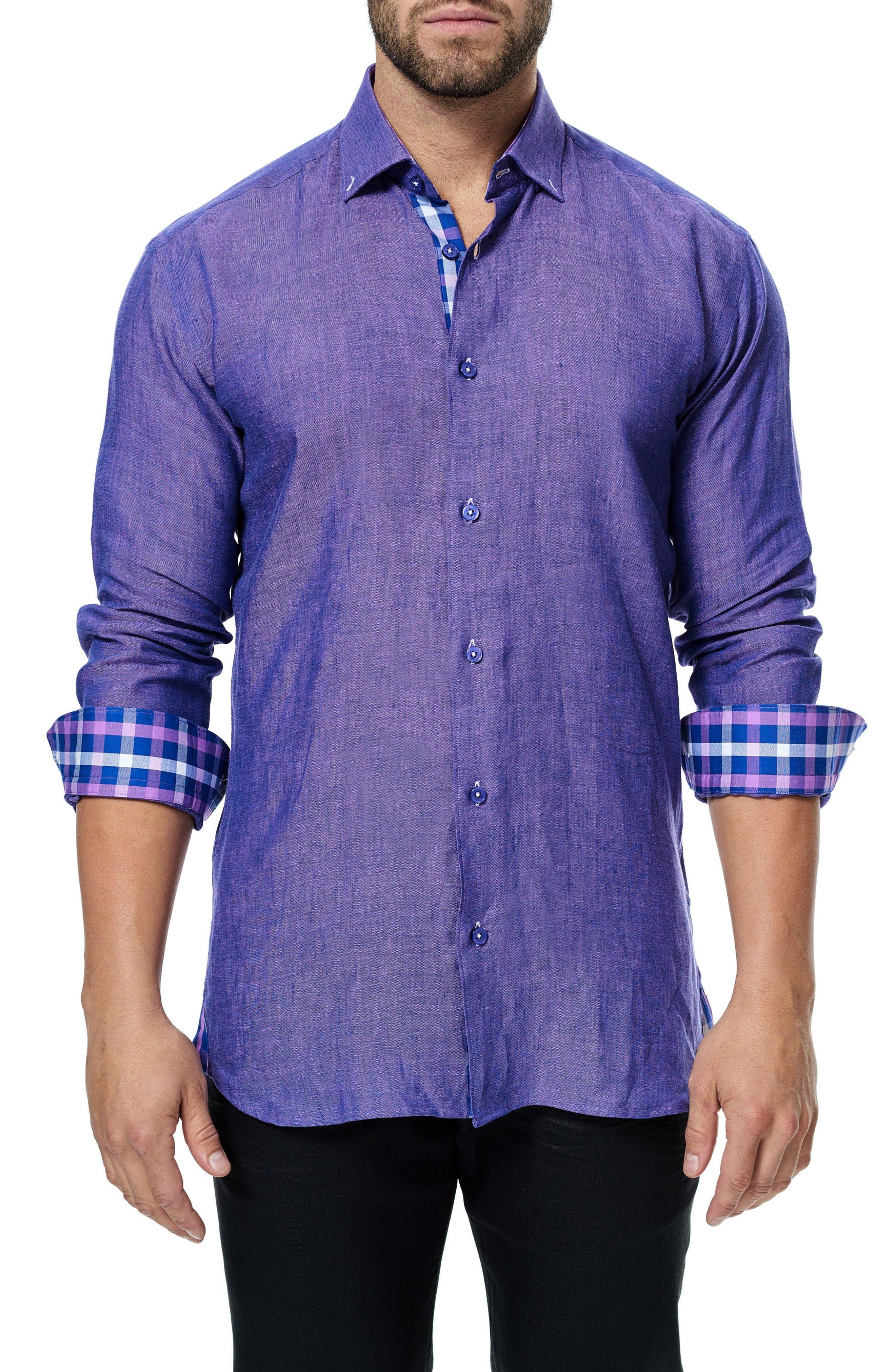 Vogue Linen Sport Shirt,                             Main thumbnail 1, color,                             Purple