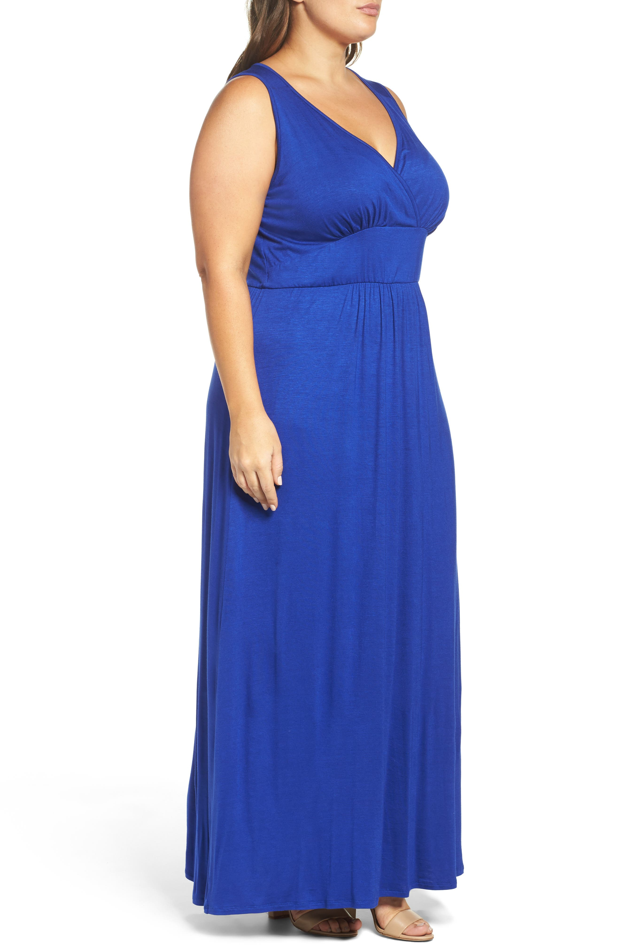 Alternate Image 3  - Loveappella Surplice Maxi Dress (Plus Size)