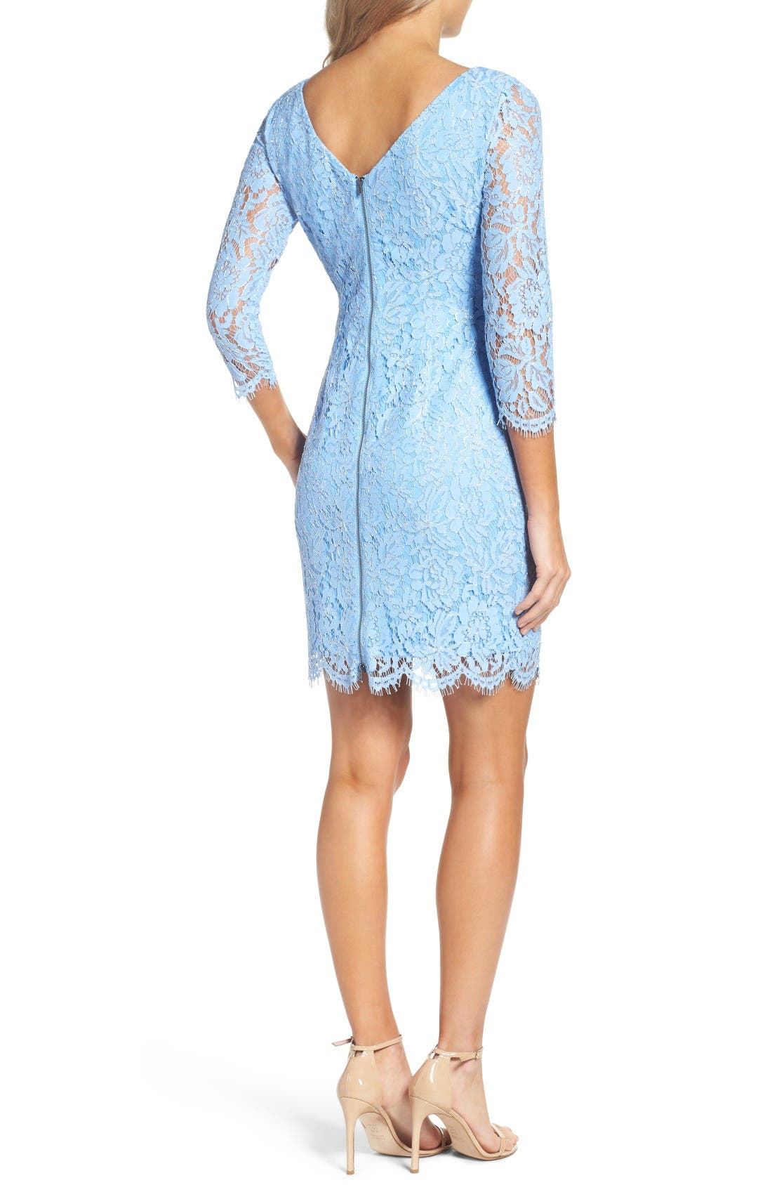Alternate Image 2  - Adrianna Papell Metallic Lace Minidress (Regular & Petite)