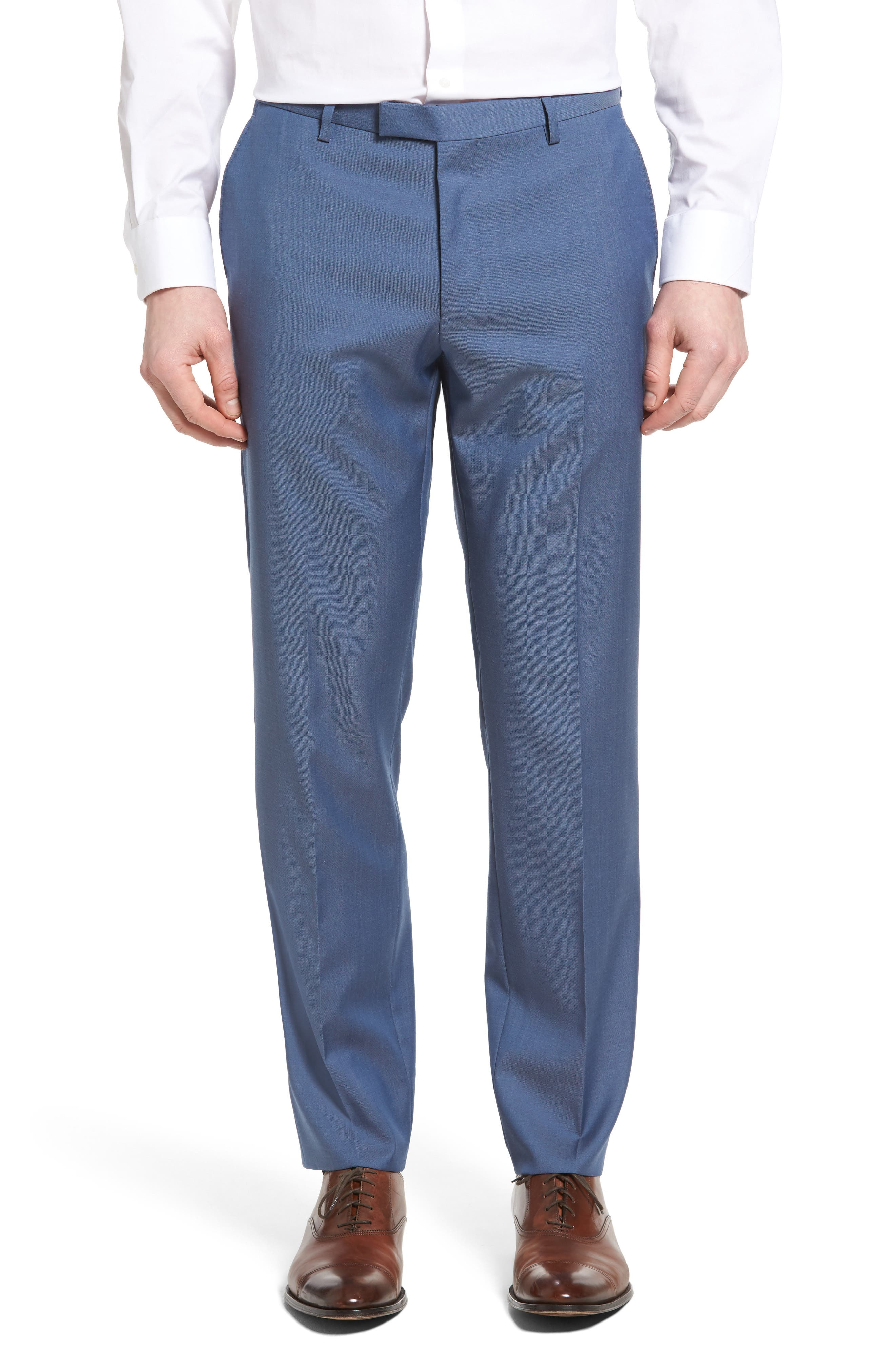Leenon Flat Front Regular Fit Solid Wool Trousers,                         Main,                         color, Light Blue