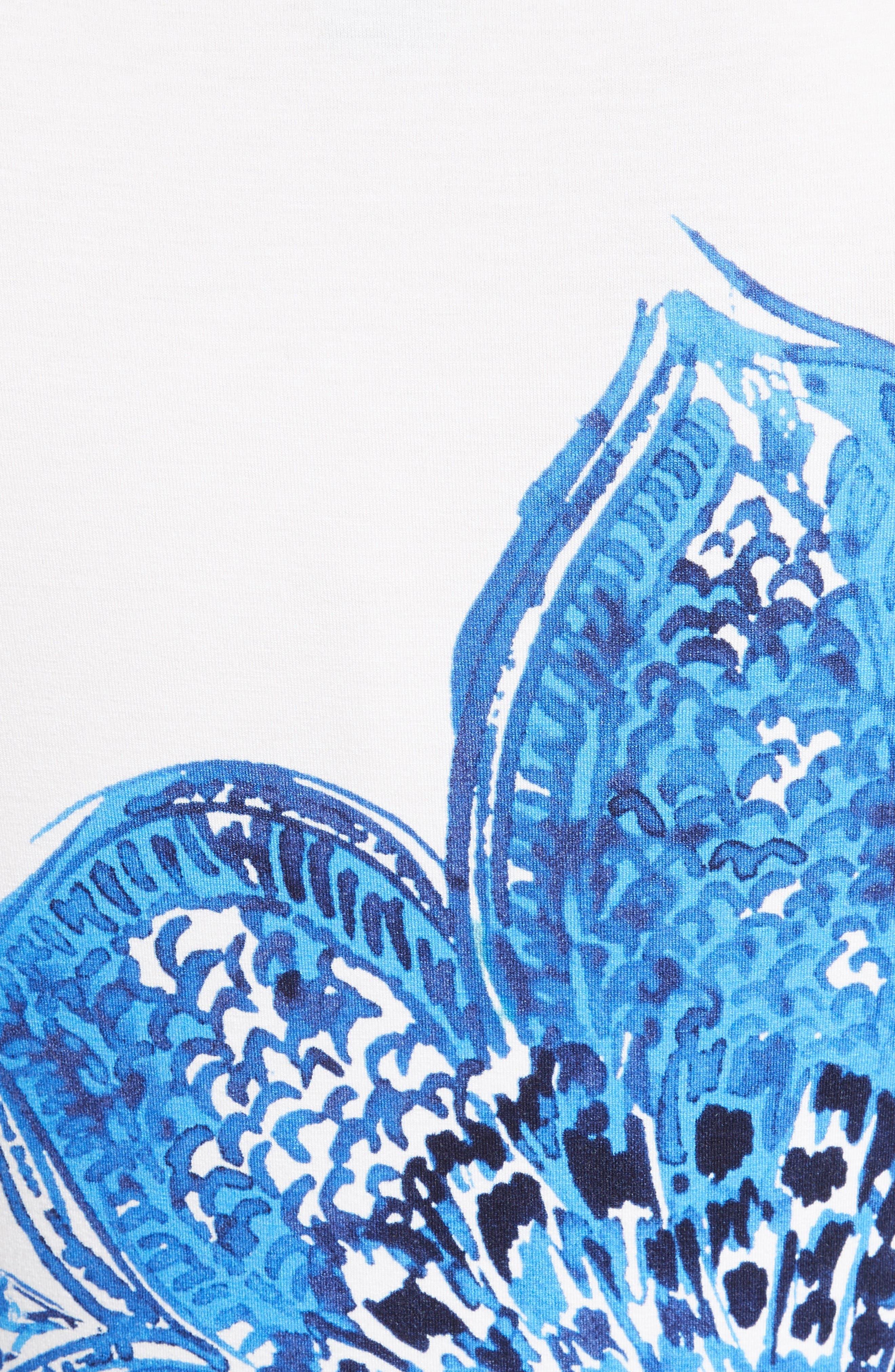 Lotus Blossom Print Jersey Tee,                             Alternate thumbnail 5, color,                             Bianco Multi