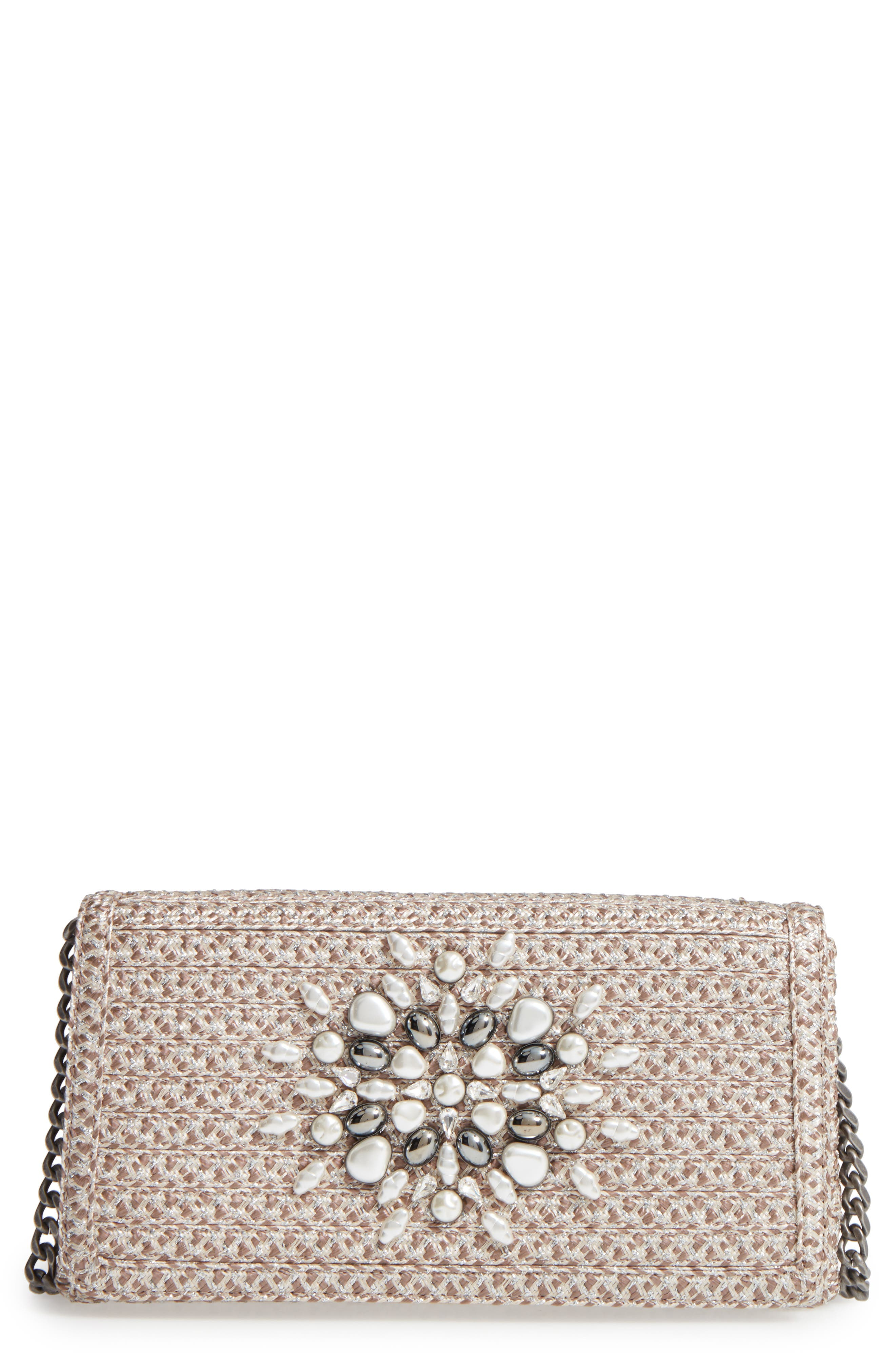 ERIC JAVITS DEVI EMBELLISHED CLUTCH - GREY