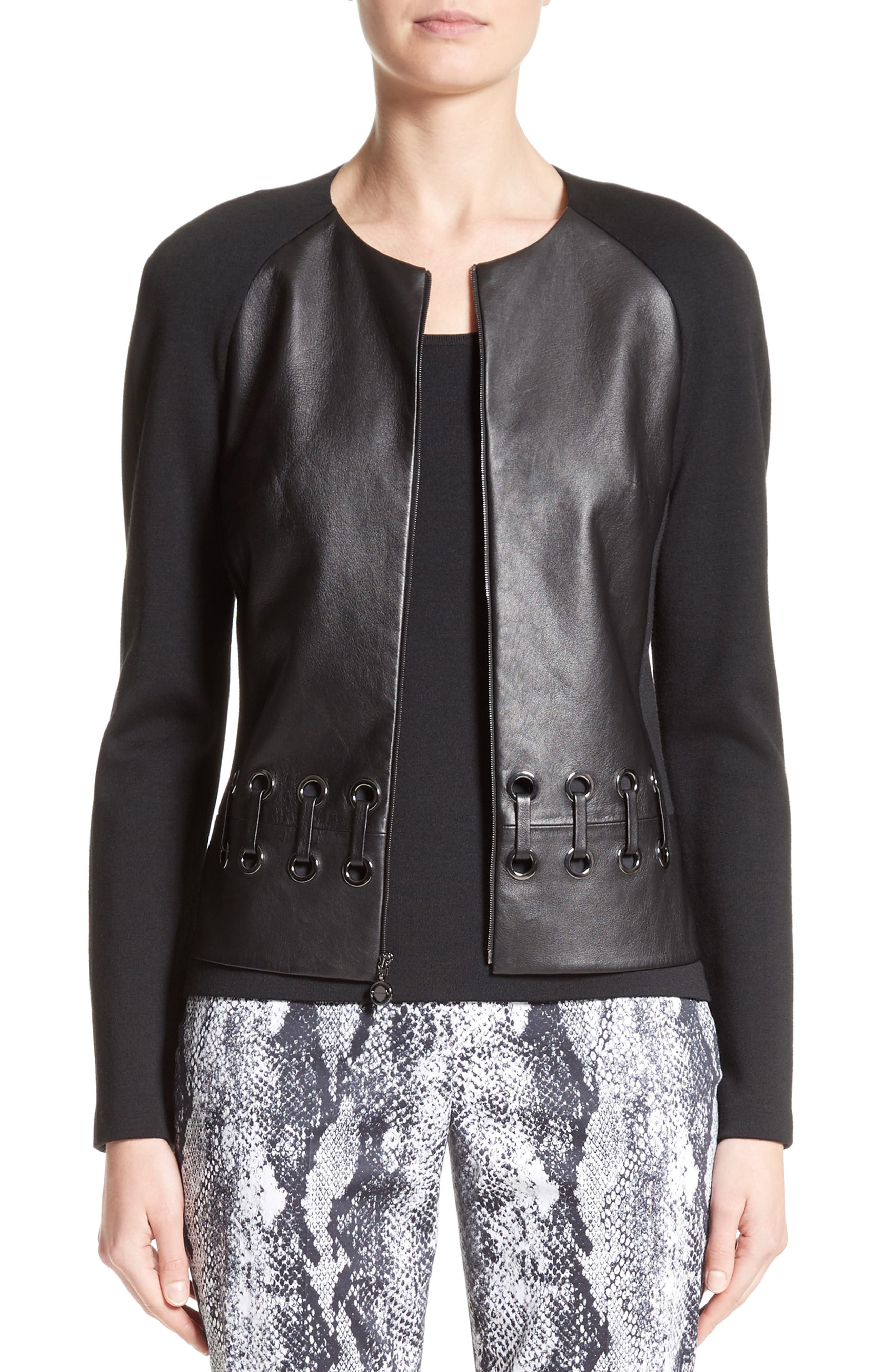 Leather Front Milano Knit Jacket,                         Main,                         color, Caviar