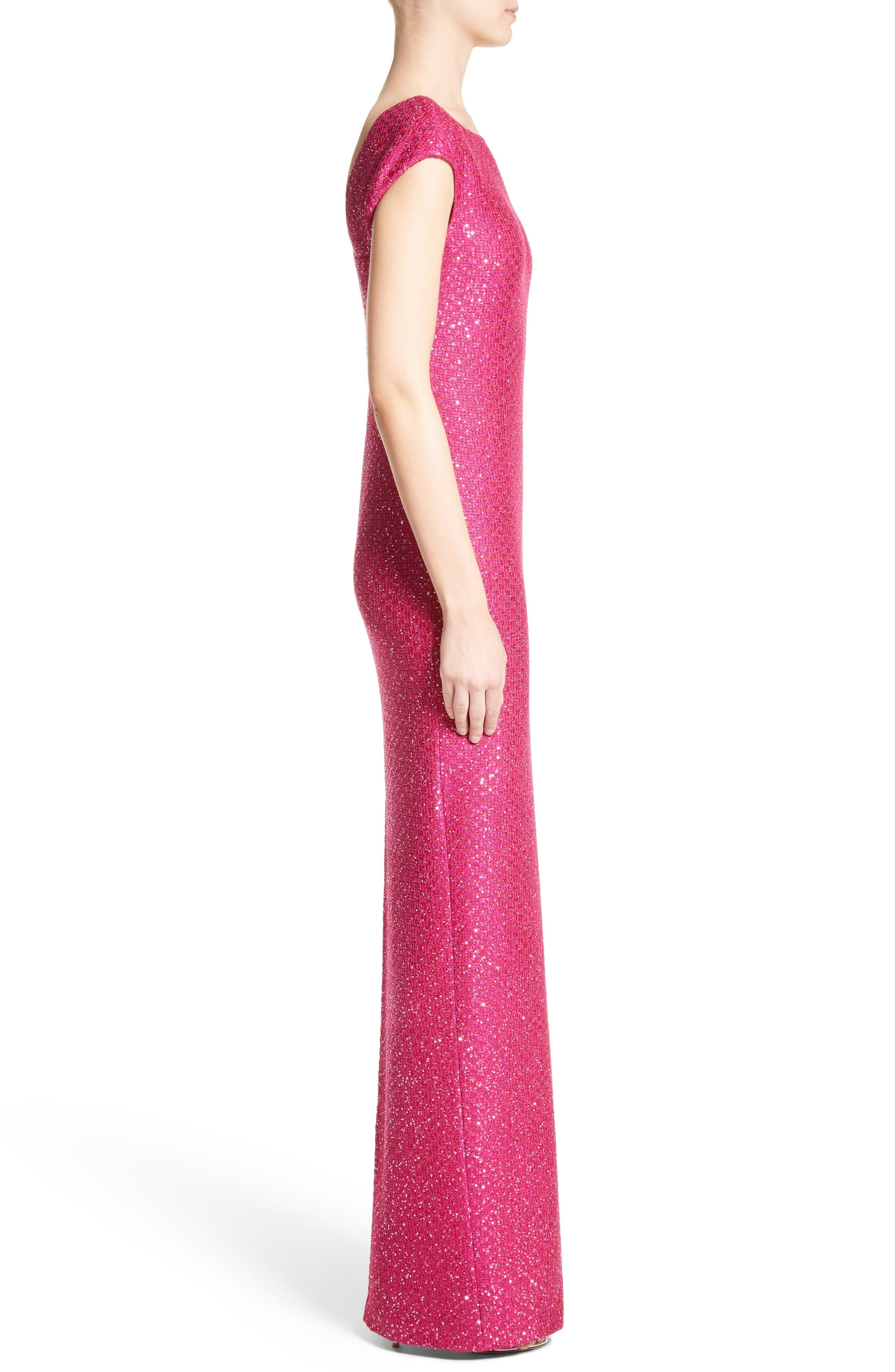 Sequin Knit Column Gown,                             Alternate thumbnail 4, color,                             Scarlet Multi
