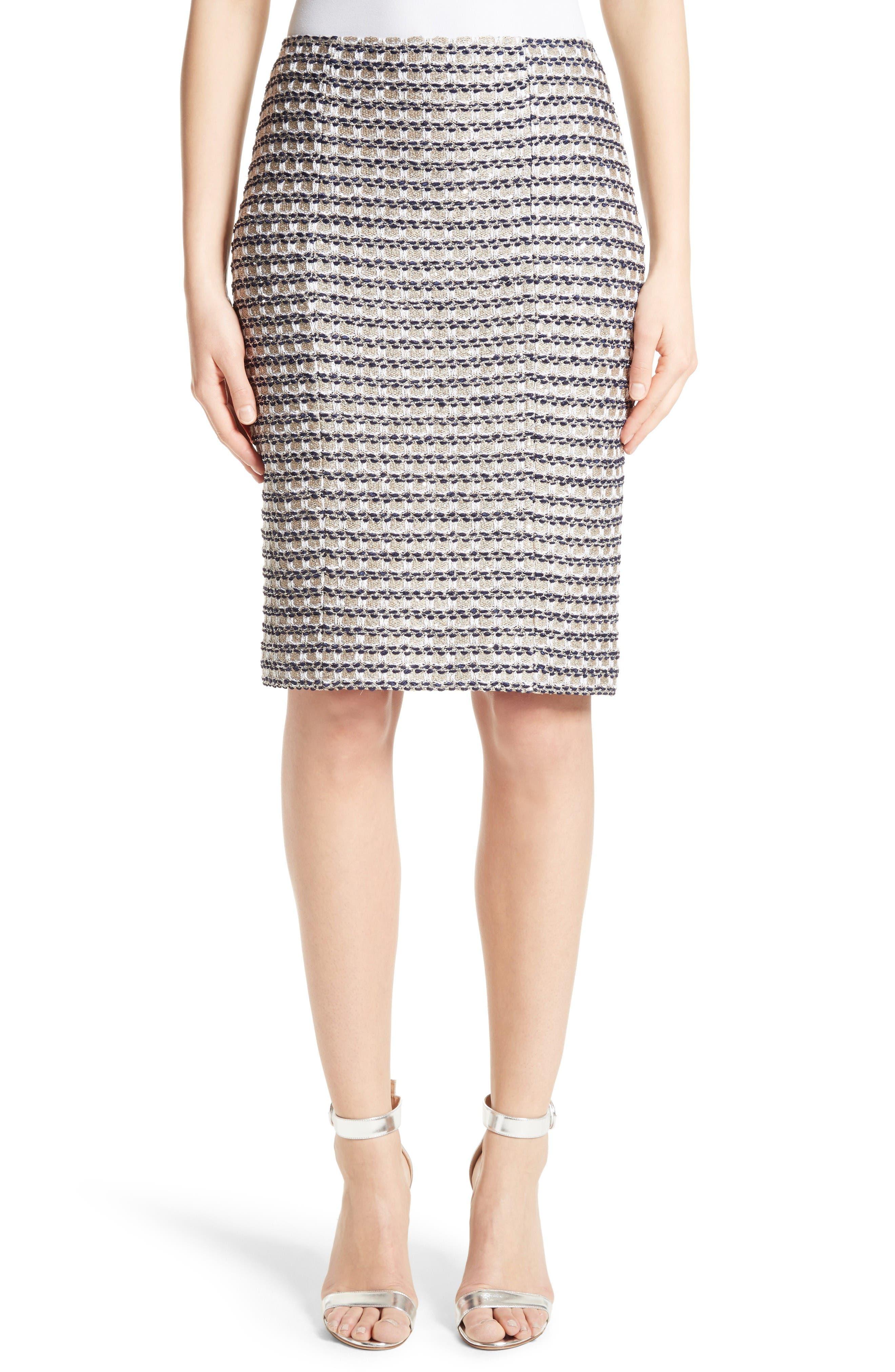 Vany Tweed Knit Pencil Skirt,                         Main,                         color, Gold Multi