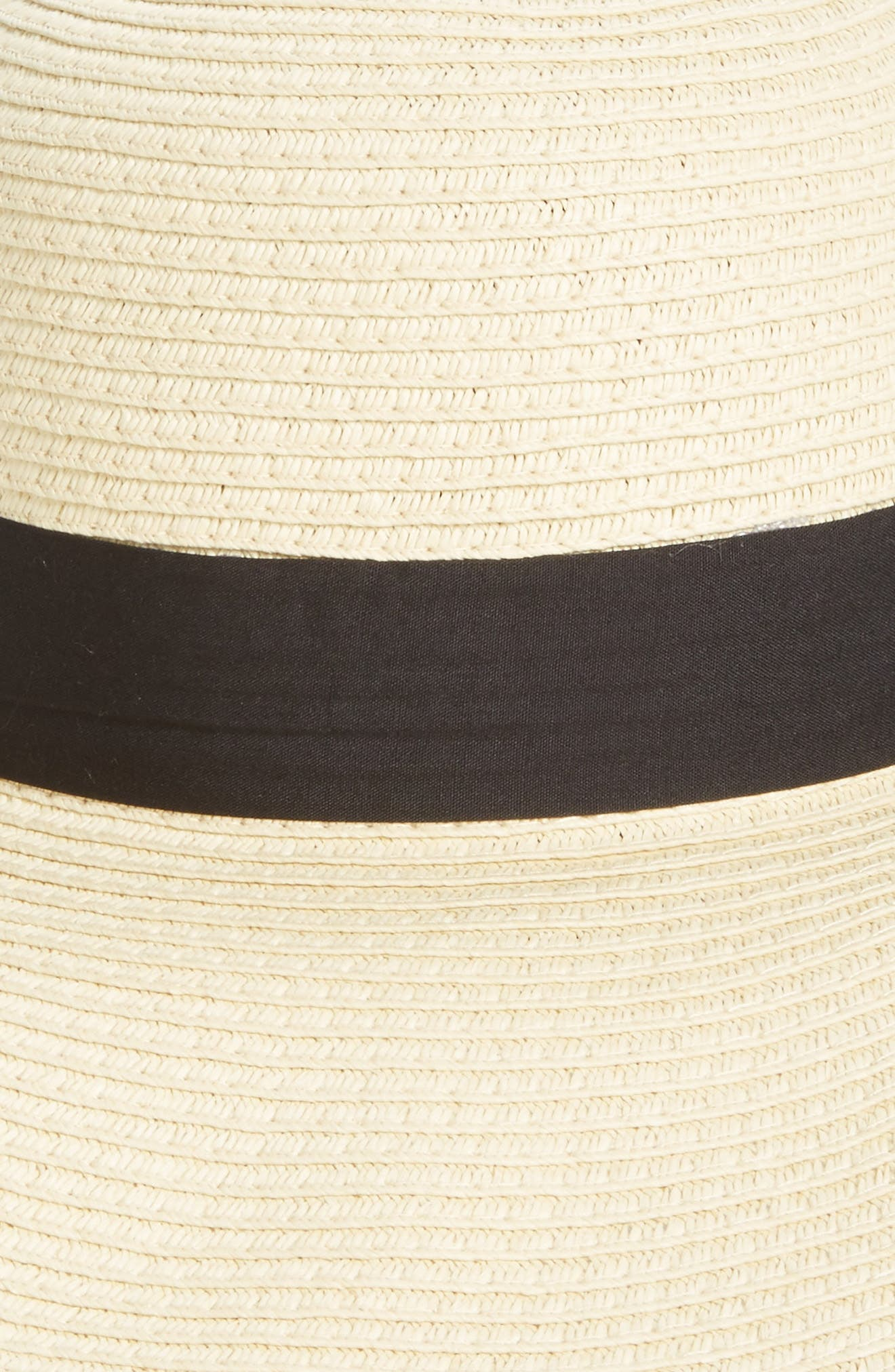 Bow Band Floppy Straw Hat,                             Alternate thumbnail 2, color,                             Natural/ Black