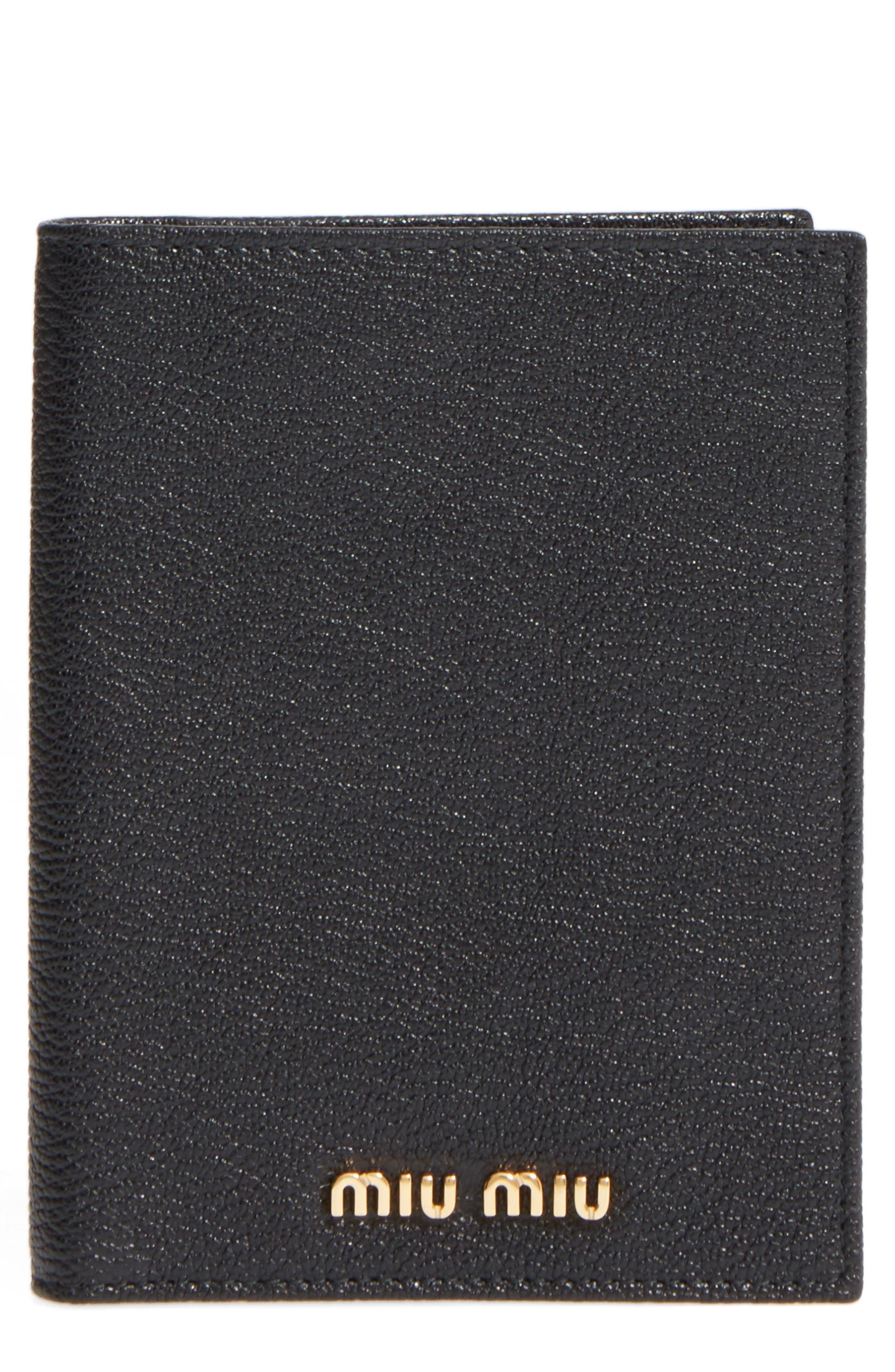 Leather Passport Case,                         Main,                         color, Nero