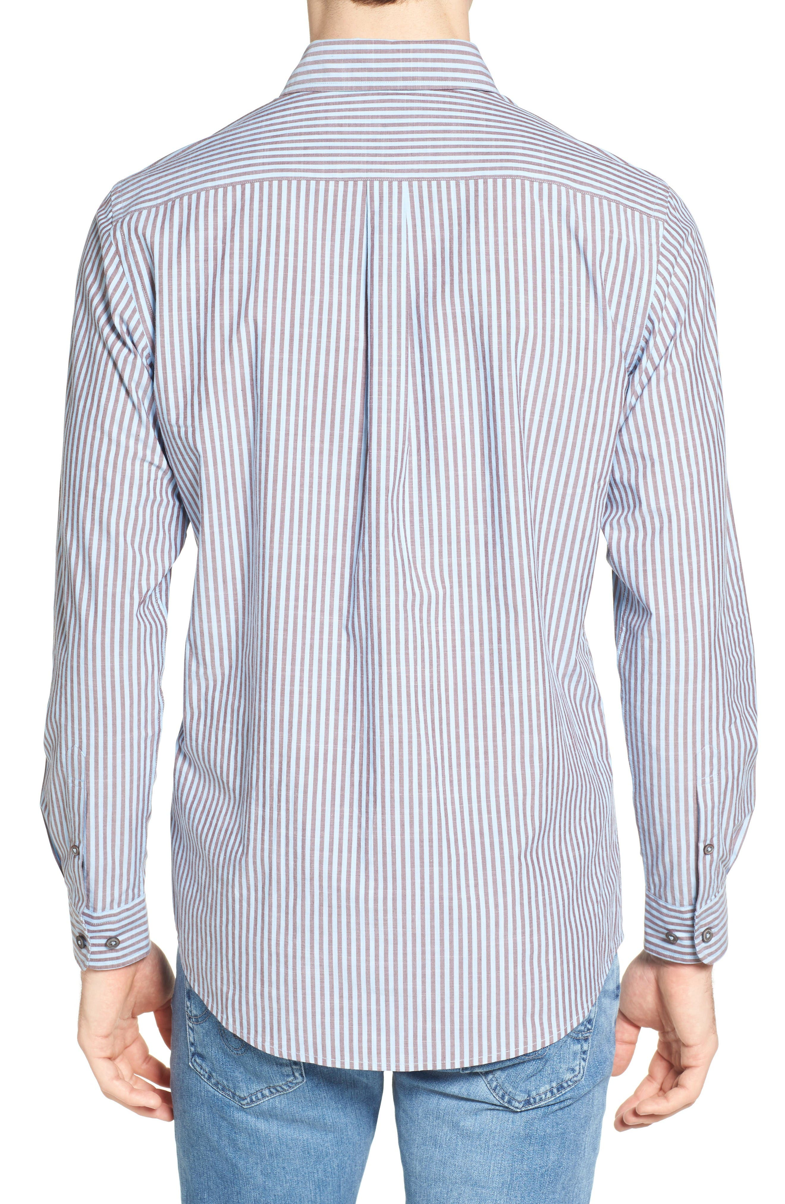 Fitzroy Stripe Sport Shirt,                             Alternate thumbnail 2, color,                             Sky