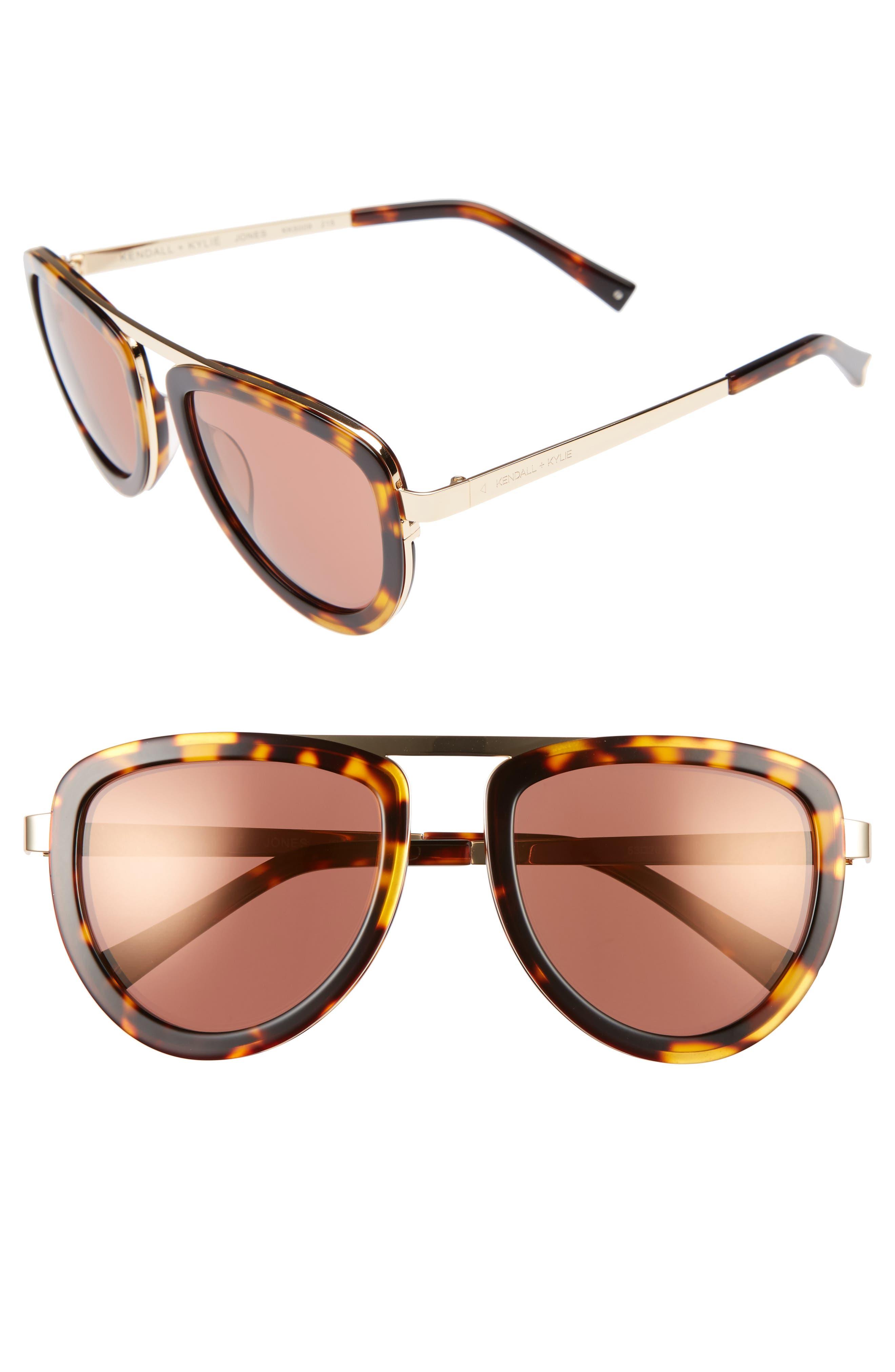 53mm Aviator Sunglasses,                         Main,                         color, Dark Demi/ Shiny Gold