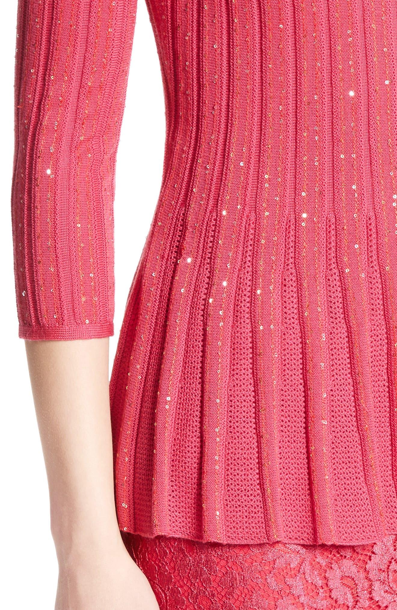 Chriag Sequin Knit Peplum Top,                             Alternate thumbnail 4, color,                             Indian Rose