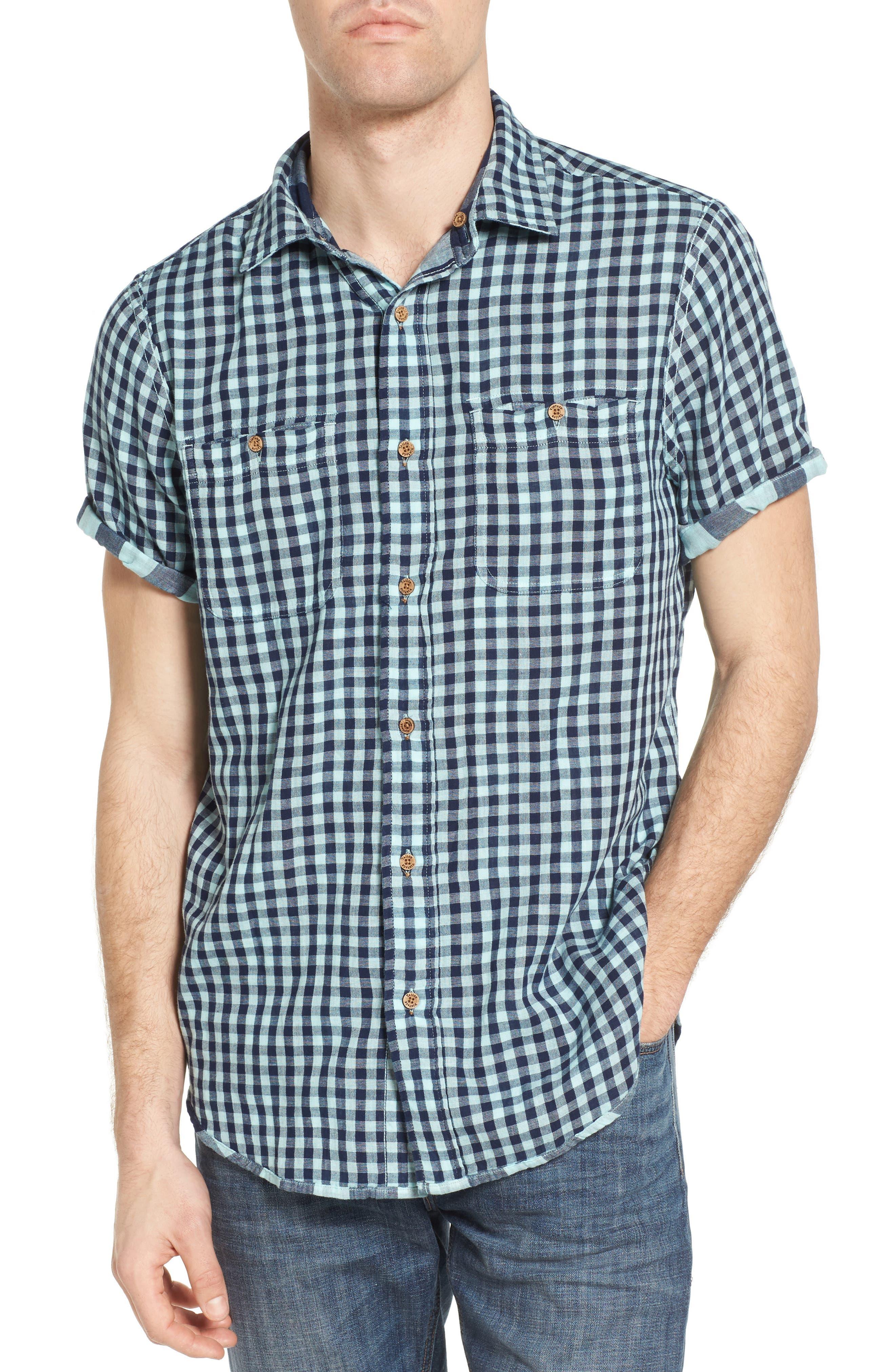 Buffalo Plaid Sport Shirt,                             Alternate thumbnail 4, color,                             Canal Blue