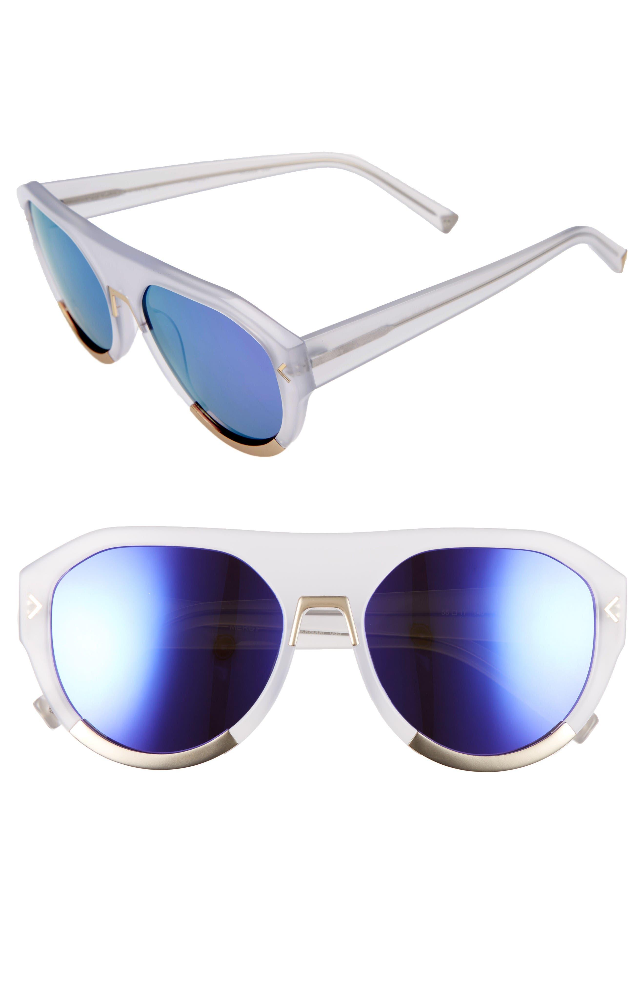 Mercy 55mm Aviator Sunglasses,                         Main,                         color, Smoke Crystal/ Satin Gold