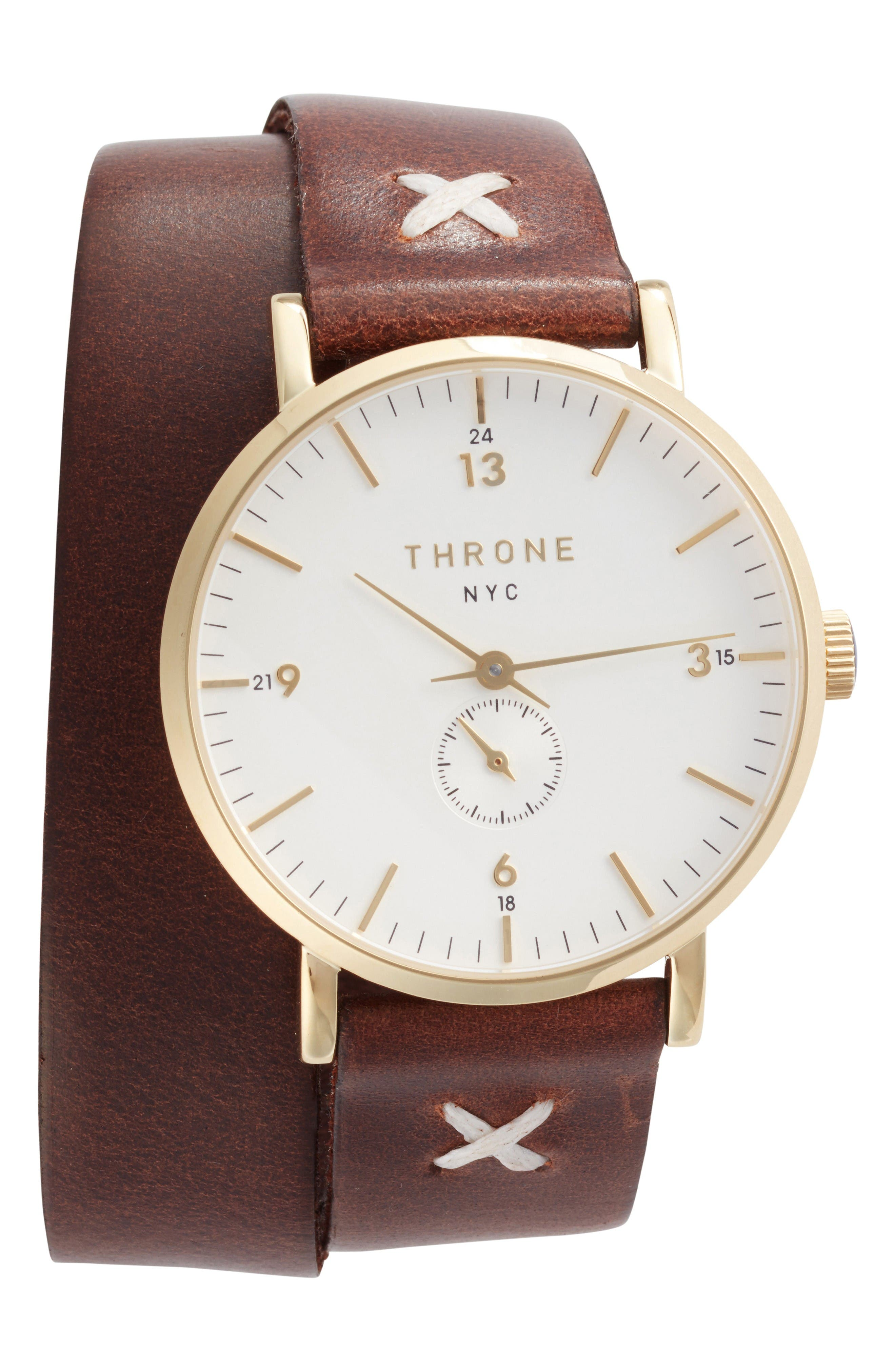 1.0 Leather Wrap Strap Watch, 36mm,                         Main,                         color, Brown/ White/ Gold