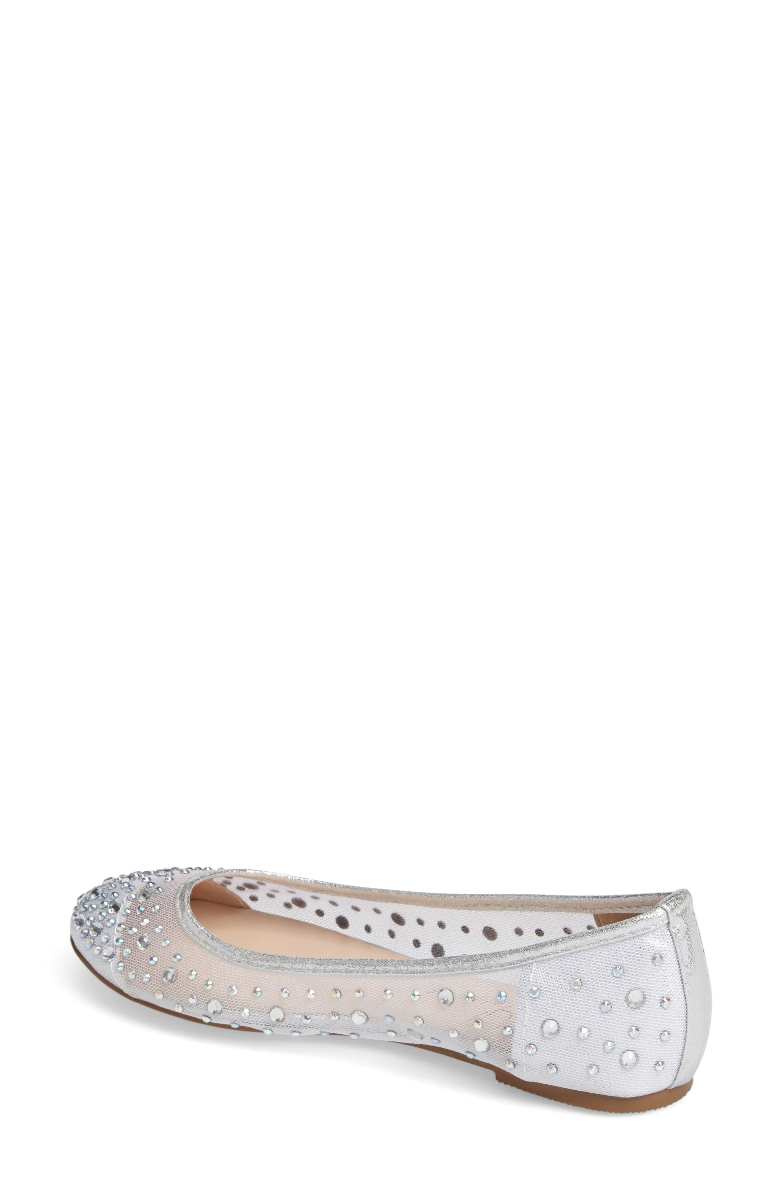 Crystal Embellished Ballet Flat,                             Alternate thumbnail 2, color,                             Silver