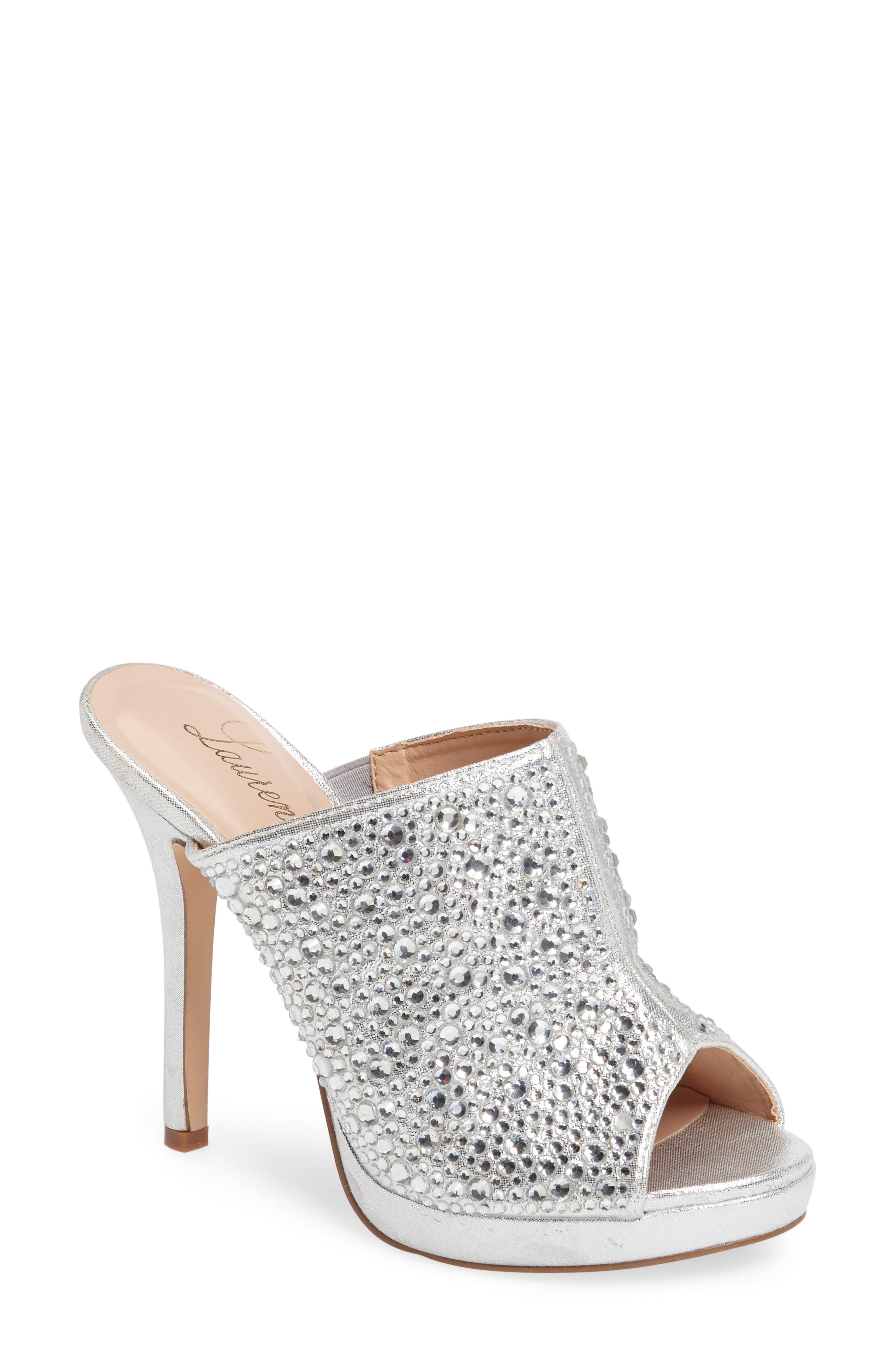 Mimi Embellished Slide Sandal,                         Main,                         color, Silver