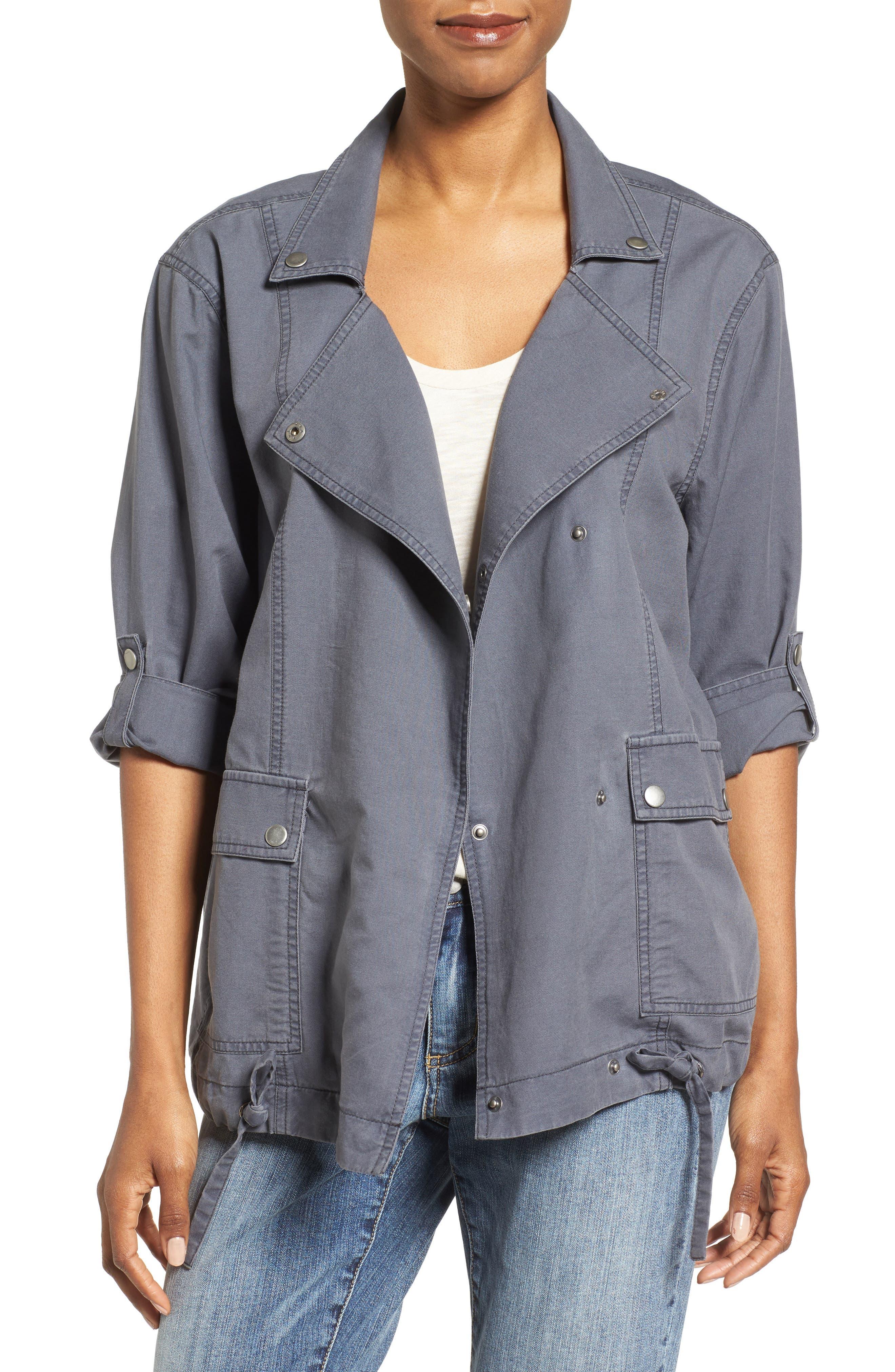Caslon® Roll Sleeve Utility Jacket (Regular & Petite)
