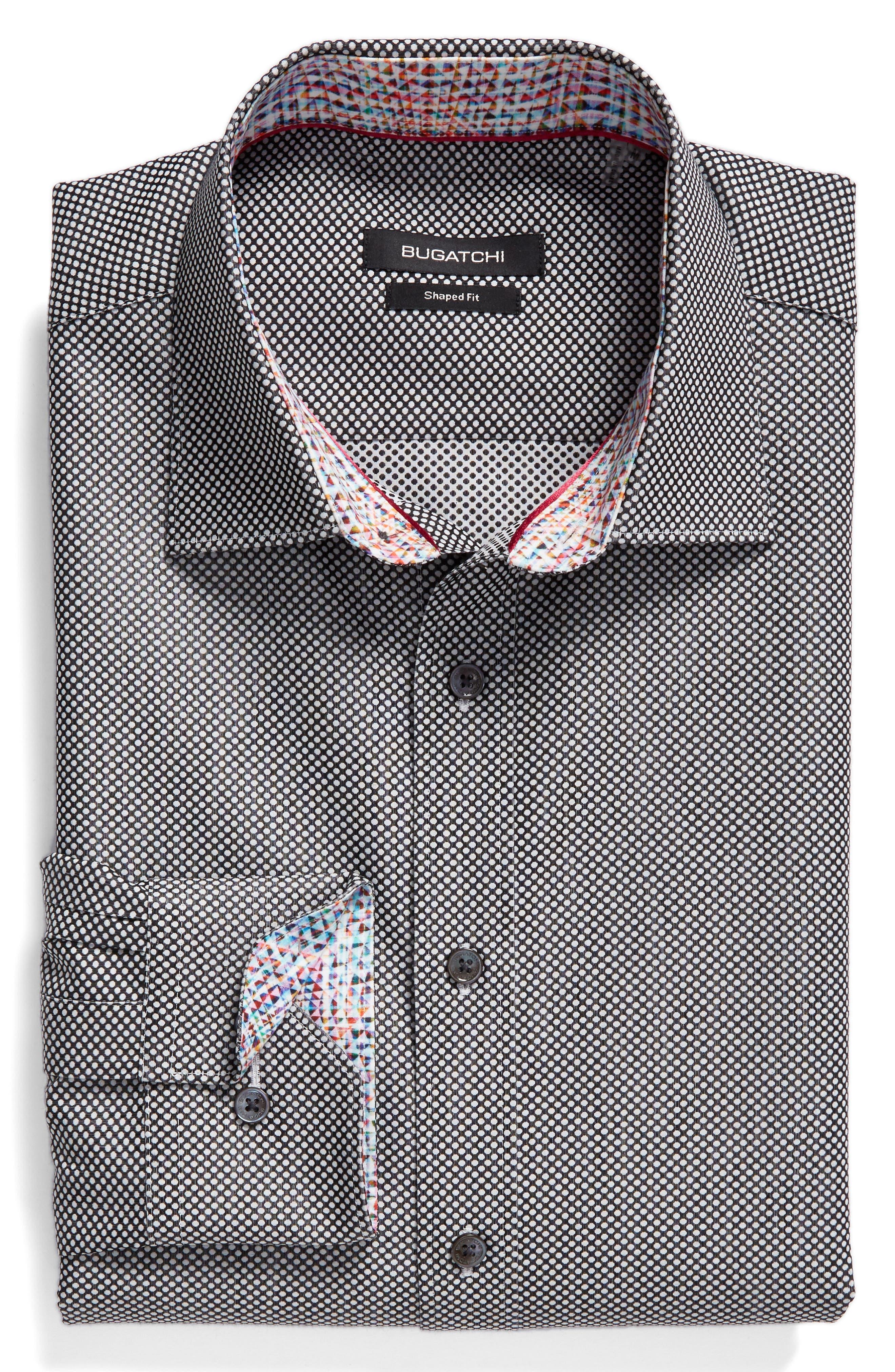 Shaped Fit Textured Sport Shirt,                             Alternate thumbnail 6, color,                             Black