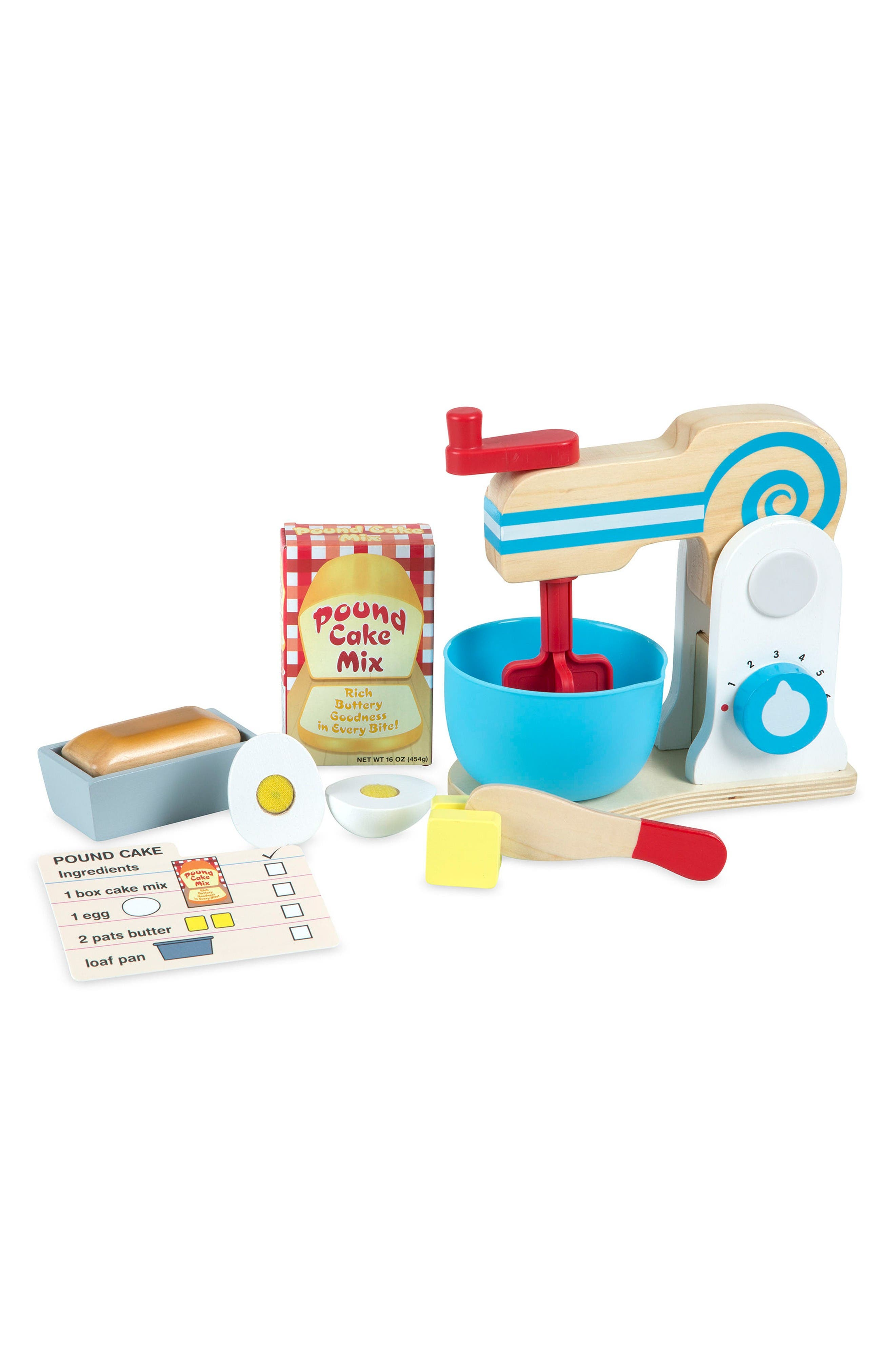 Wooden Make-a-Cake Mixer Play Set,                             Main thumbnail 1, color,                             Beige
