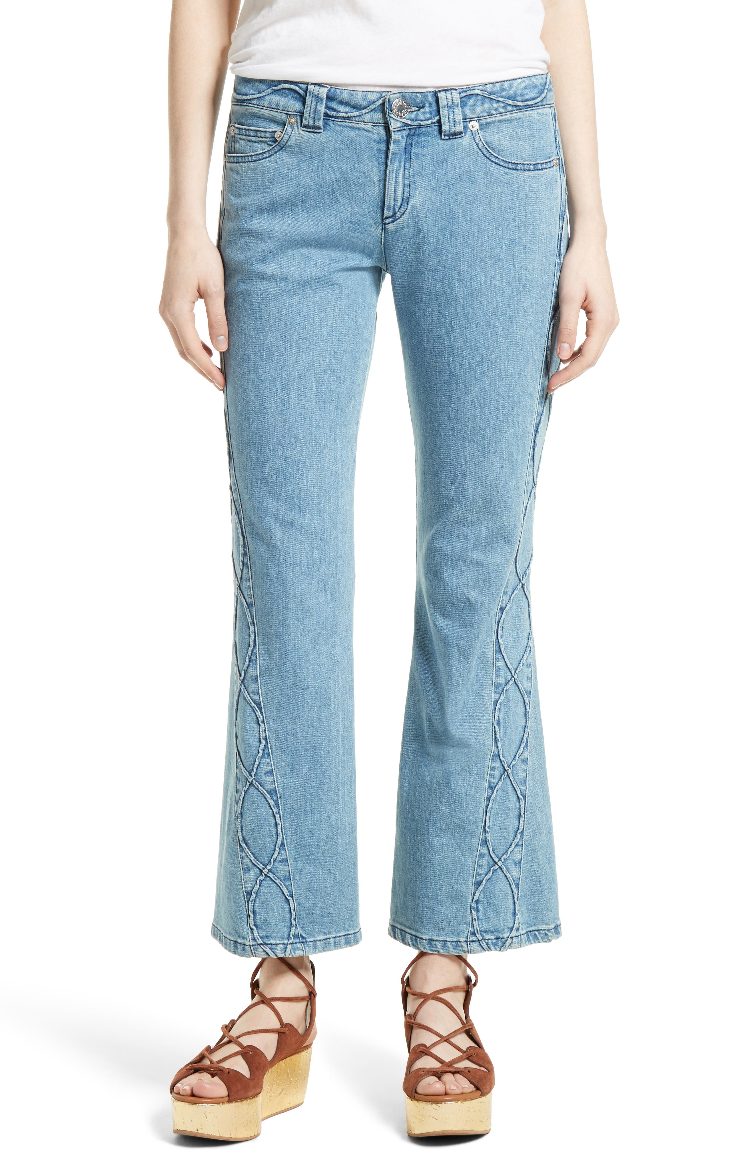 Main Image - See by Chloé Iconic Ankle Flare Jeans (Stoned Indigo)