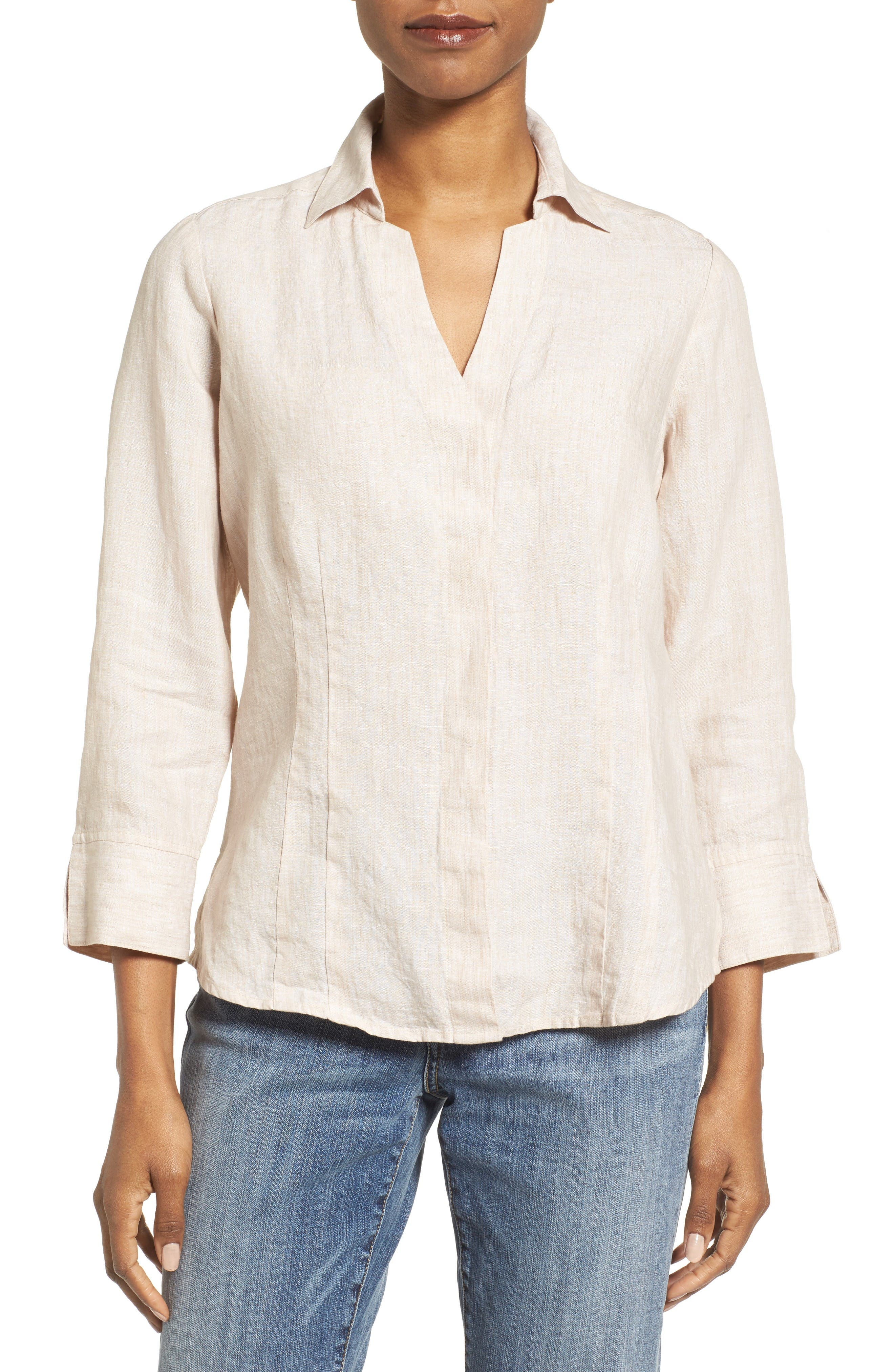 Foxcroft Linen Chambray Shirt (Regular & Petites)