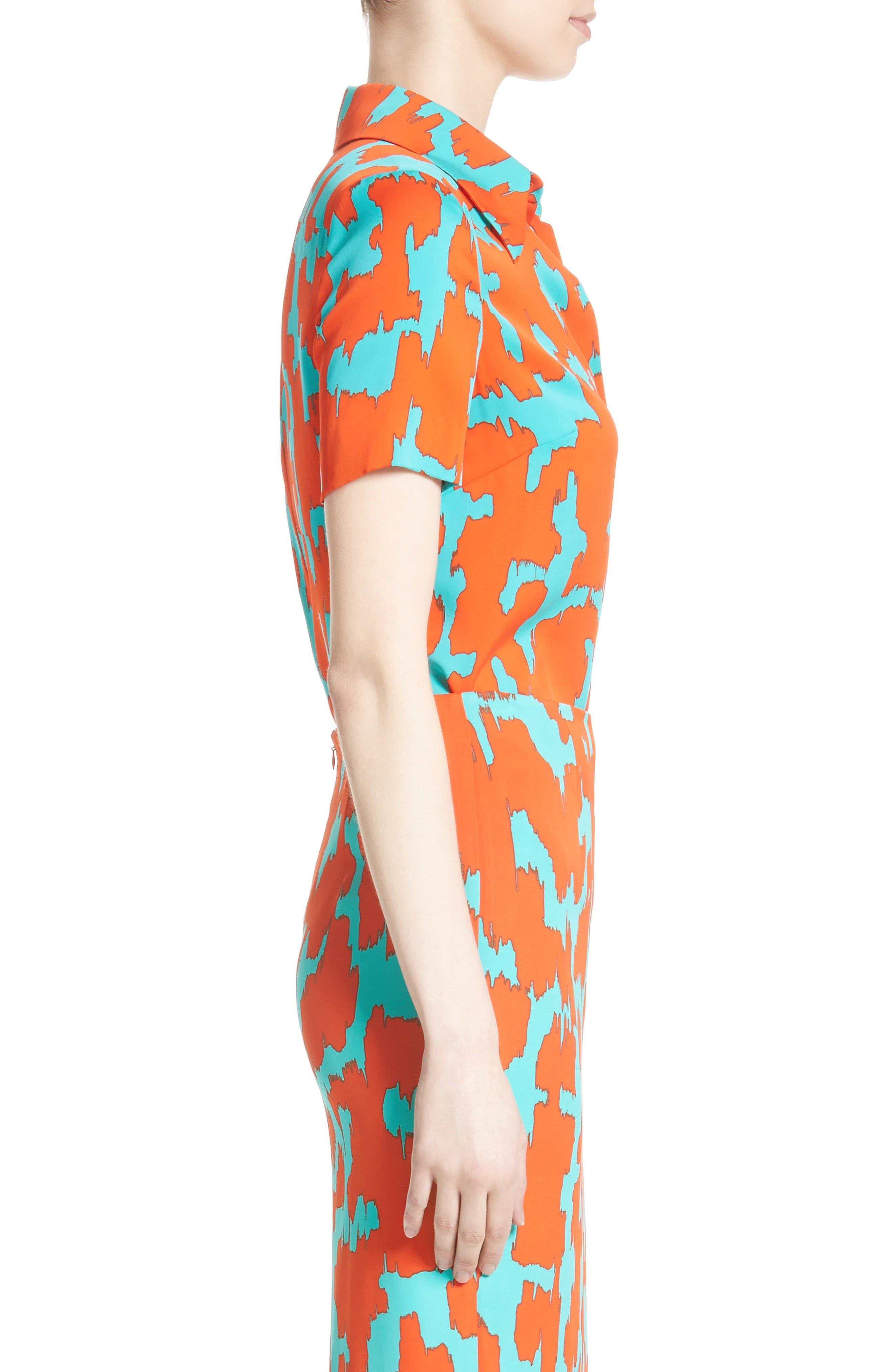 Diane von Furstenburg Print Stretch Silk Shirt,                             Alternate thumbnail 4, color,                             Bold Red