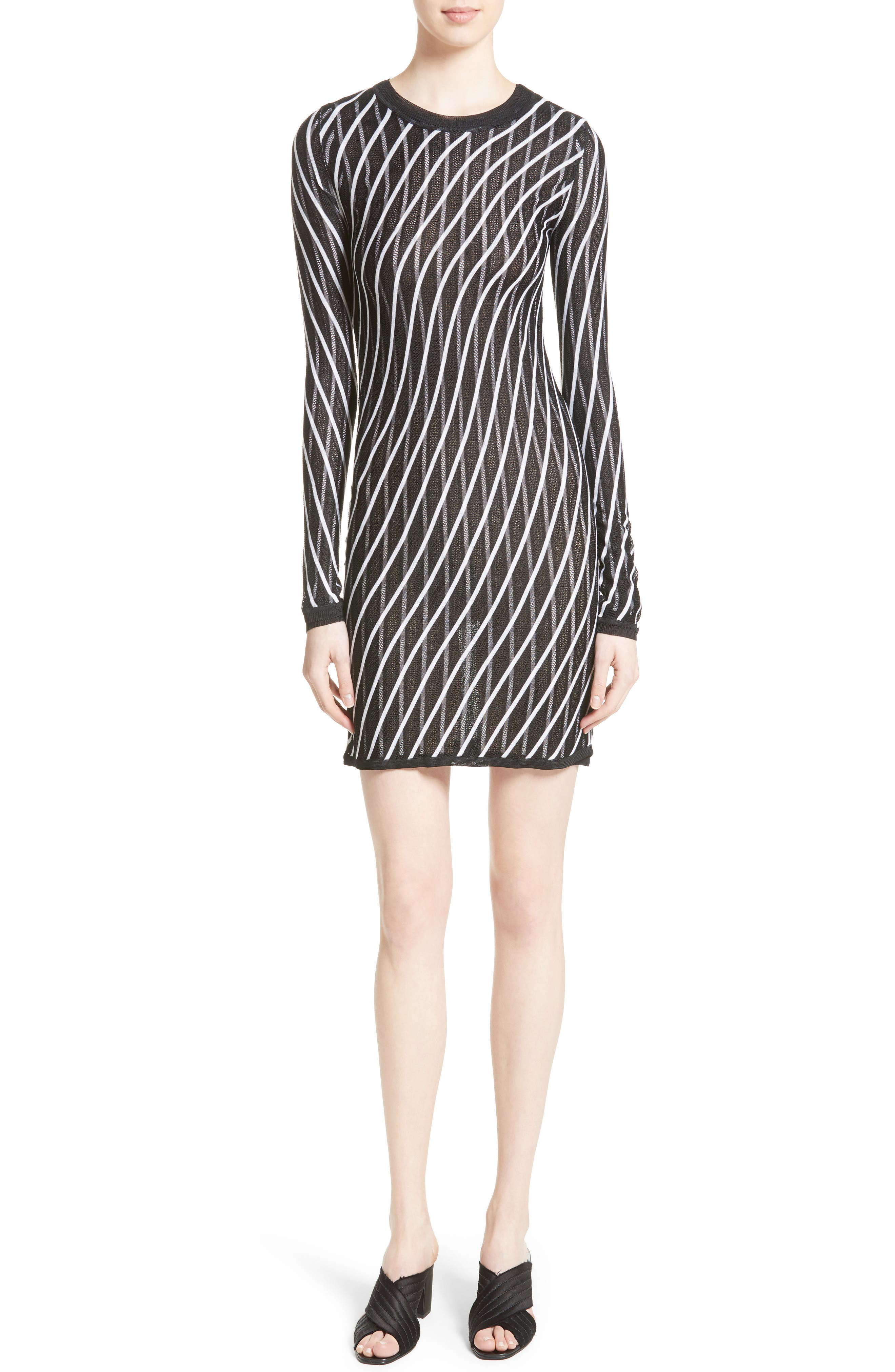 Double Layer Stripe Sweater Dress,                             Main thumbnail 1, color,                             Ivory/ Black