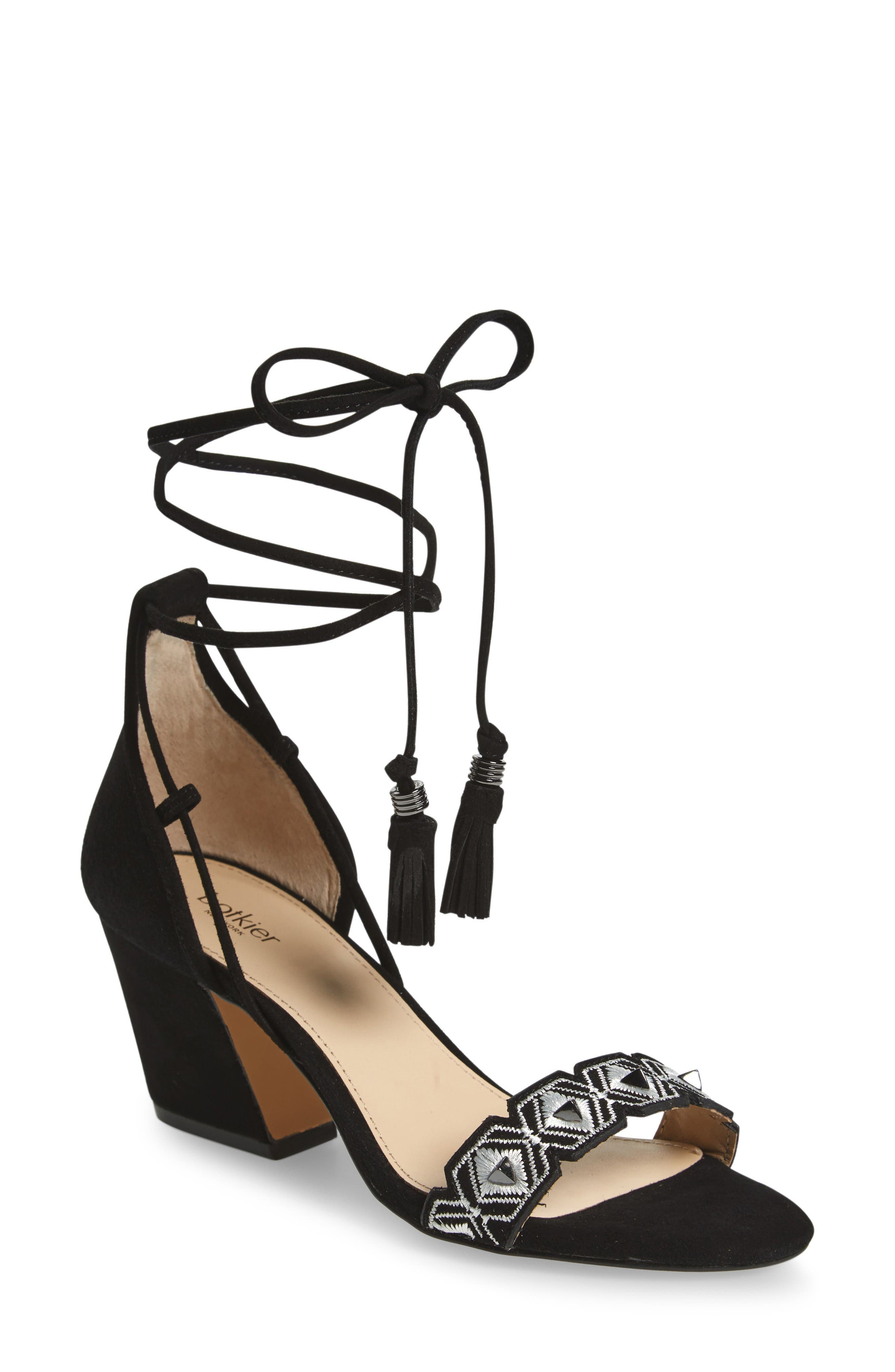 Penelope Embroidered Ankle Wrap Sandal,                         Main,                         color, Black White Combo
