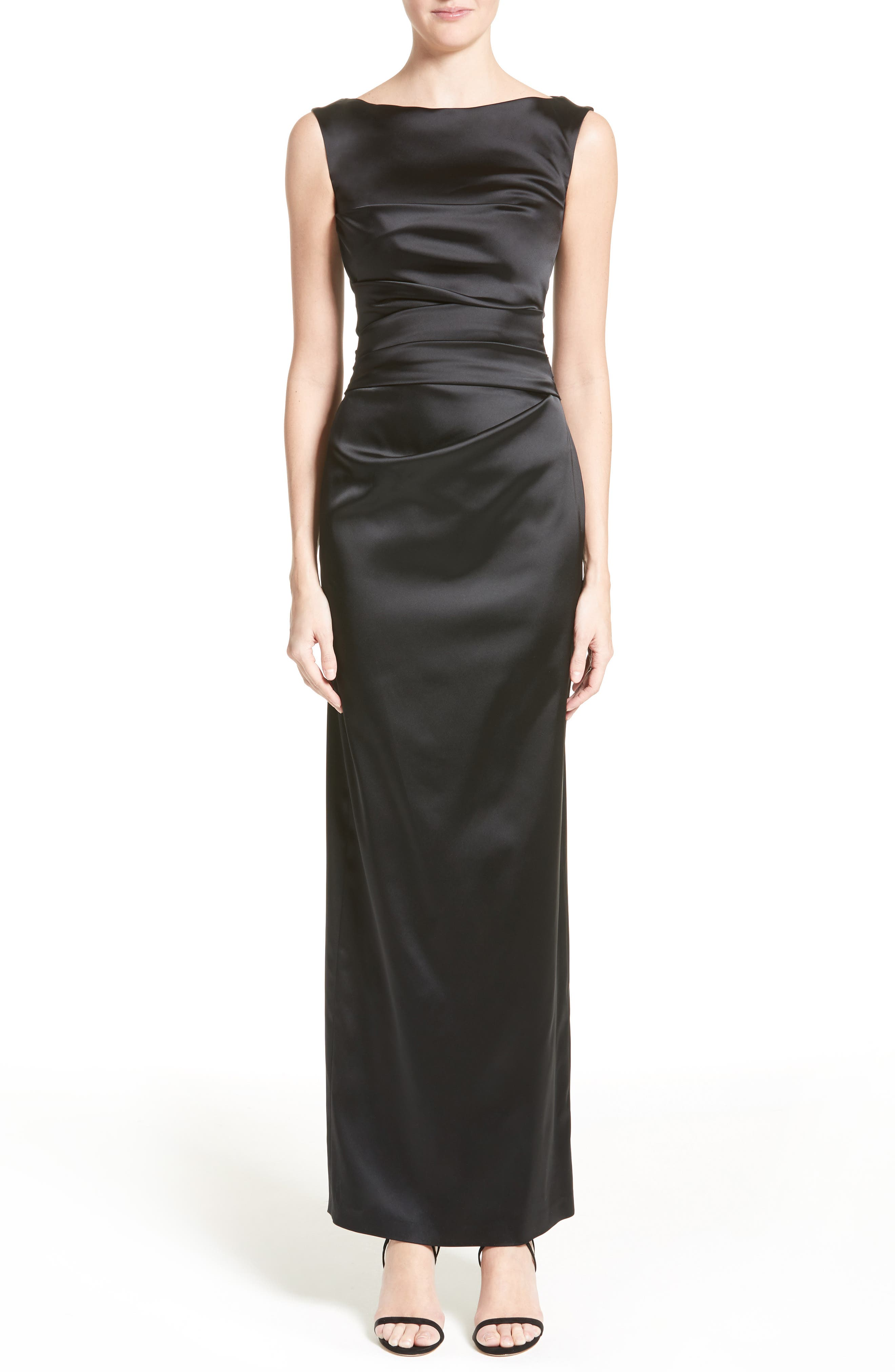 Stretch Satin Column Gown,                             Main thumbnail 1, color,                             Black