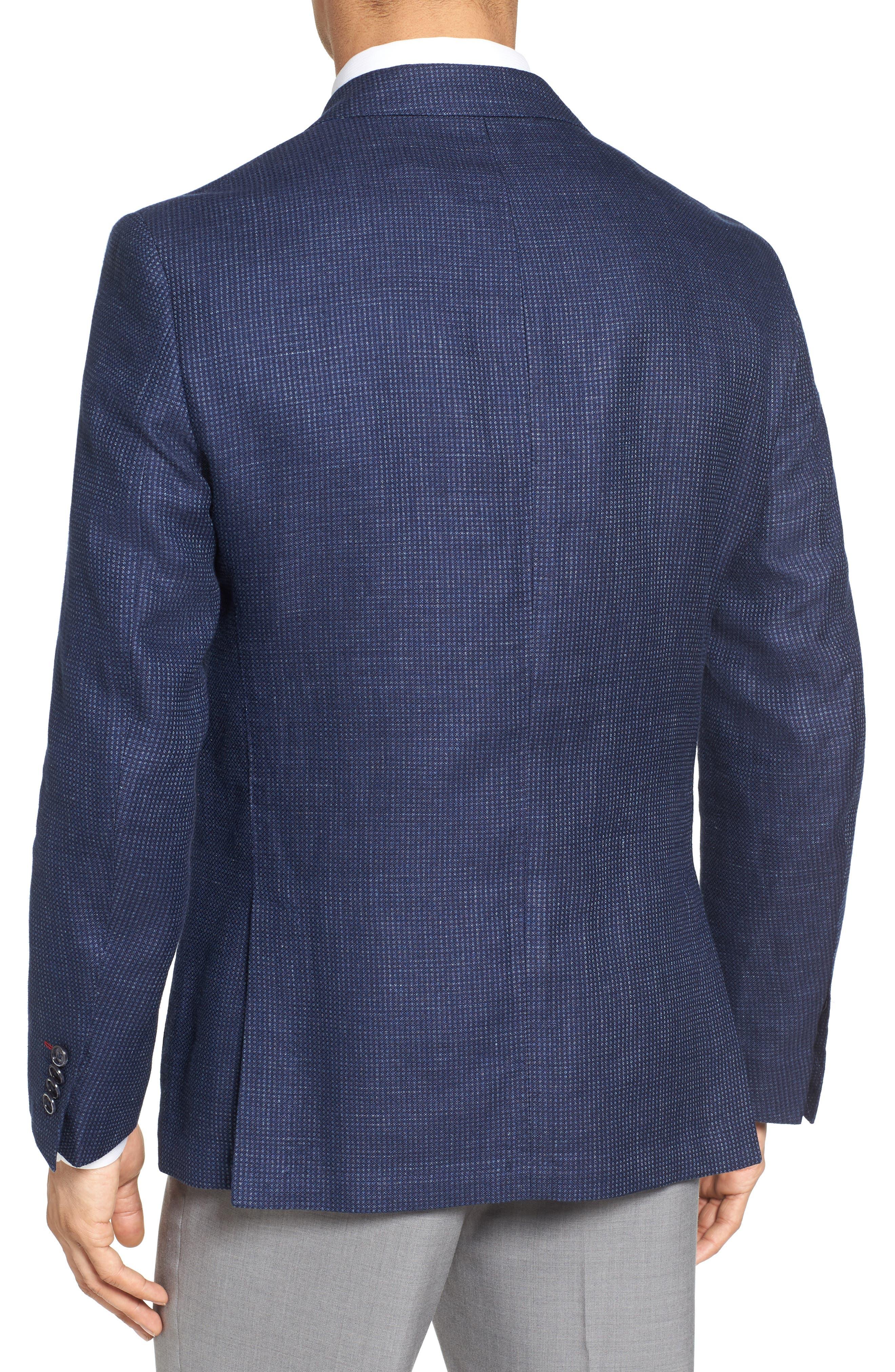Trim Fit Bird's Eye Linen & Wool Sport Coat,                             Alternate thumbnail 2, color,                             Navy
