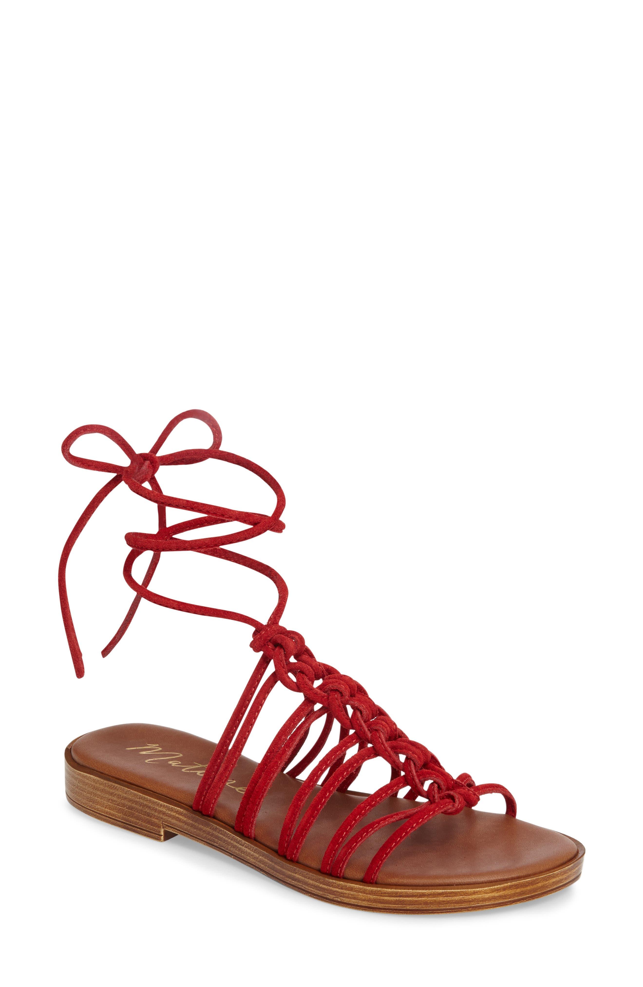 Origin Lace-Up Sandal,                             Main thumbnail 1, color,                             Red Suede
