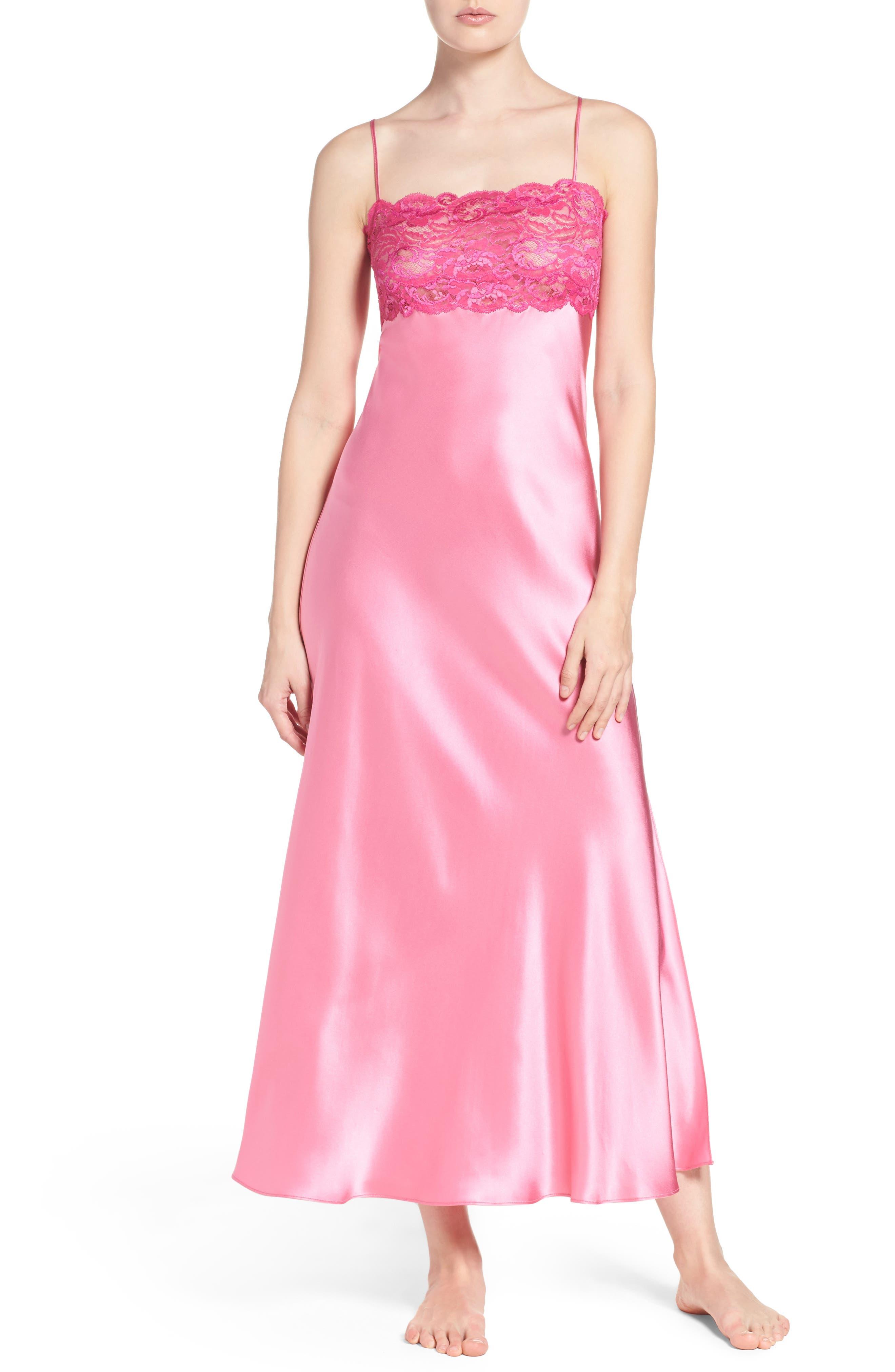 Lace & Silk Nightgown,                             Main thumbnail 1, color,                             Dahlia / Peony