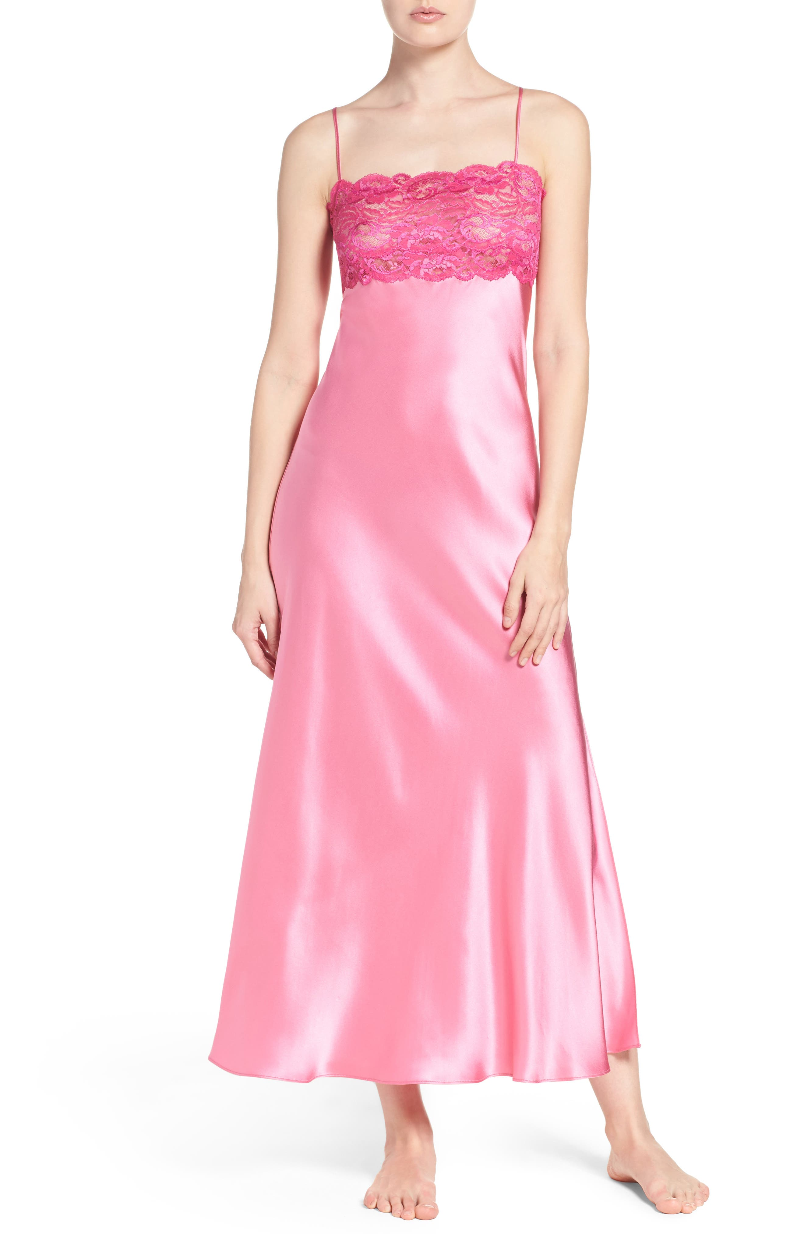 Main Image - Christine Lingerie Lace & Silk Nightgown
