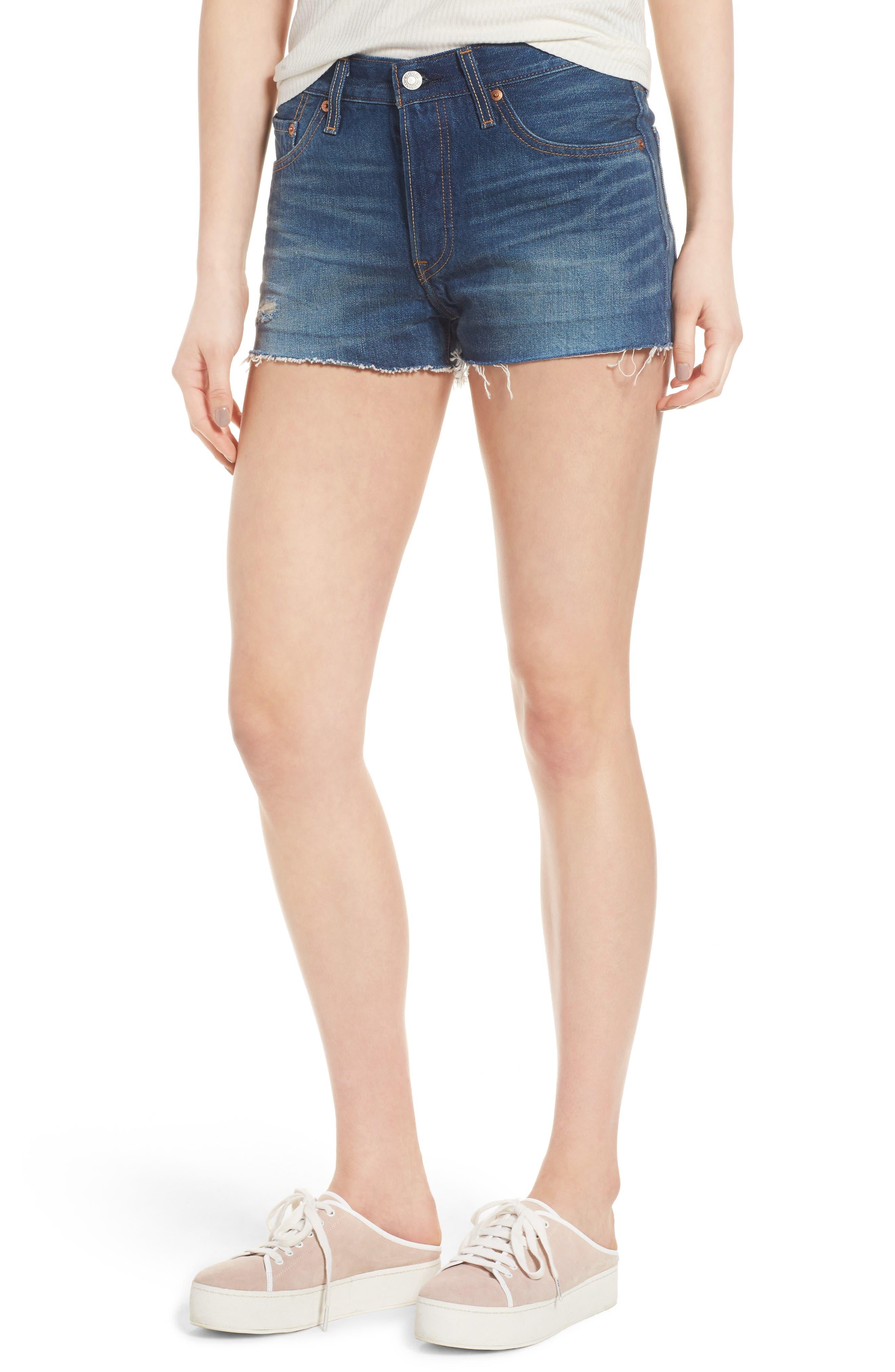 Alternate Image 1 Selected - Levi's® 501® Cutoff Denim Shorts (California Tide)