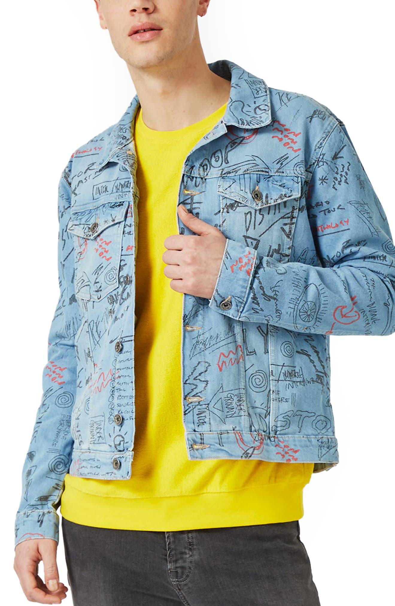 Main Image - Topman Doodle Denim Jacket