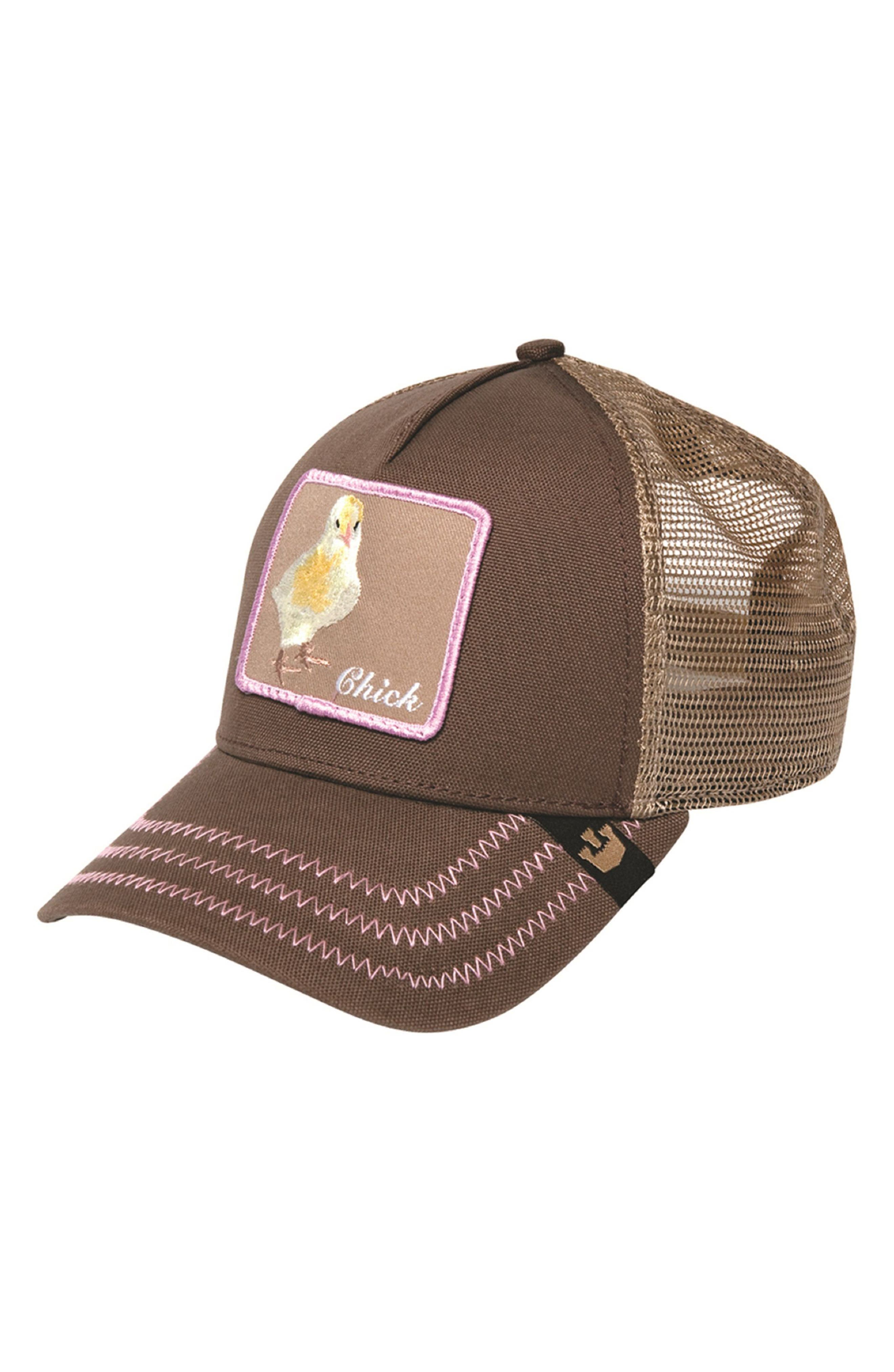 Chicky Boom Trucker Hat,                         Main,                         color, Brown