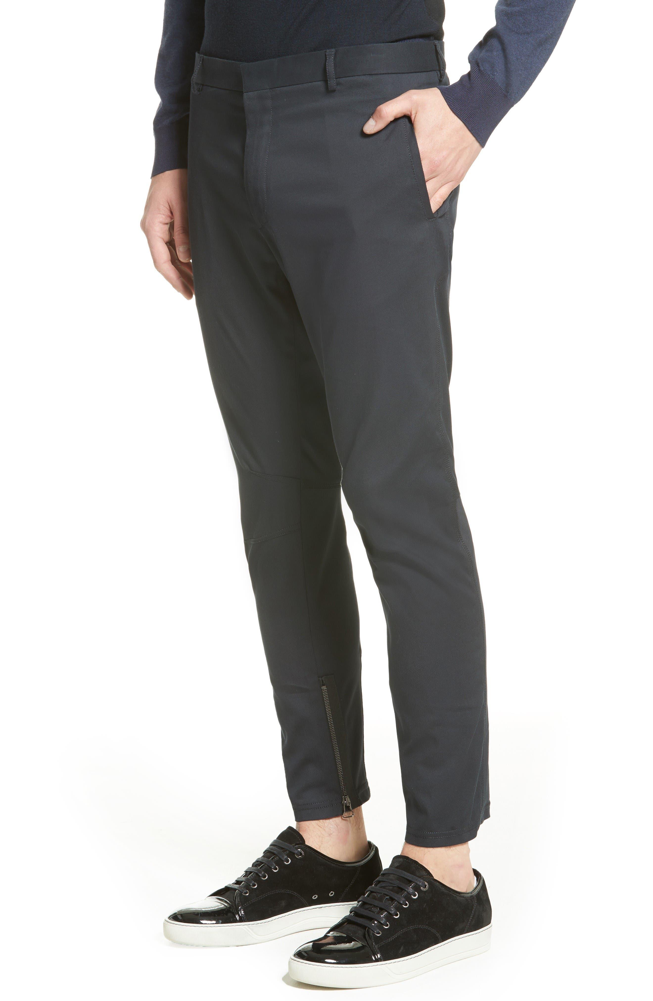 Cotton & Silk Biker Pants,                             Alternate thumbnail 4, color,                             Navy