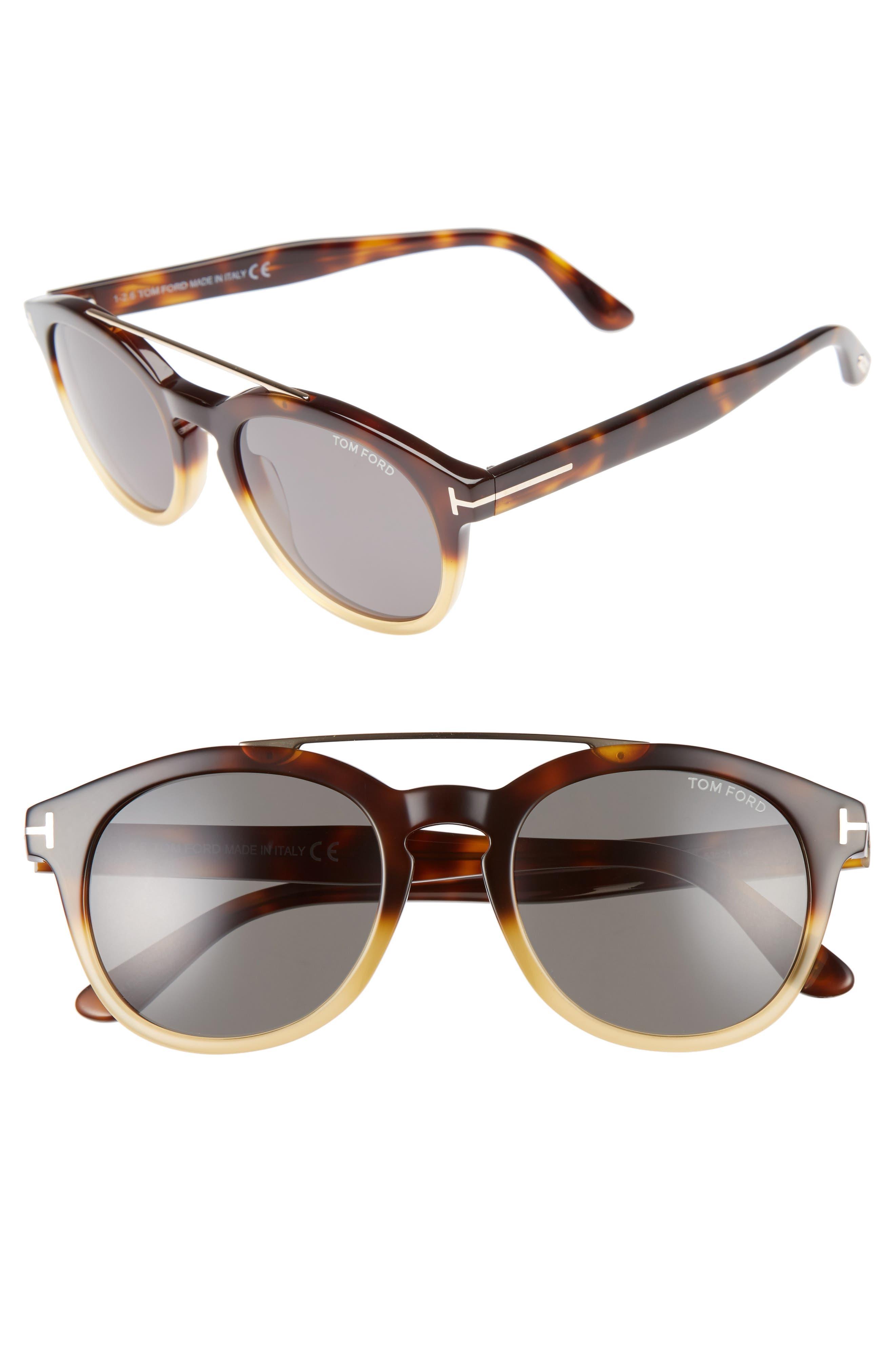 Newman 53mm Polarized Sunglasses,                         Main,                         color, Honey/ Rose Gold/ Green