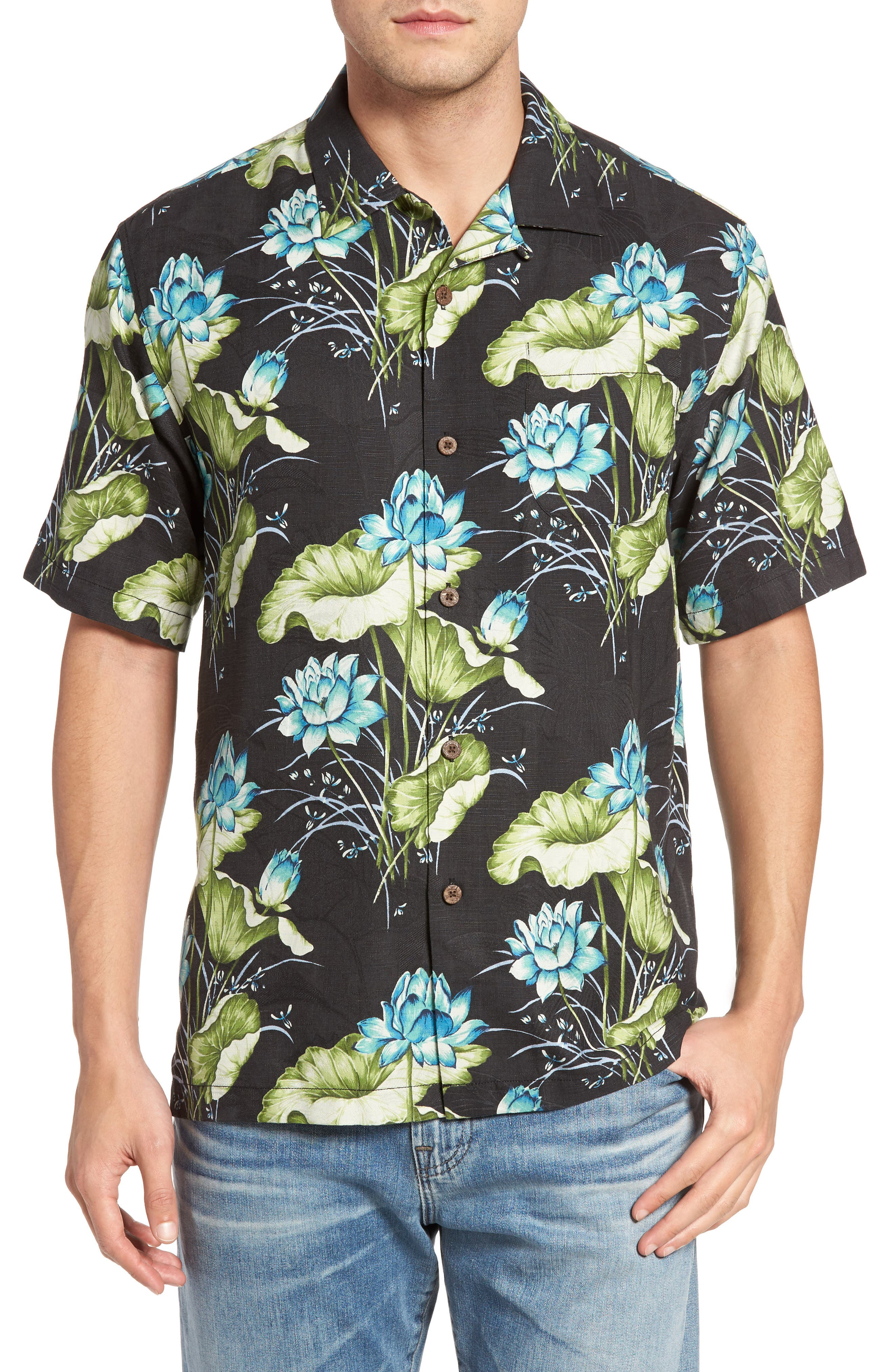 Alternate Image 1 Selected - Tommy Bahama Adriatic Garden Silk Blend Camp Shirt