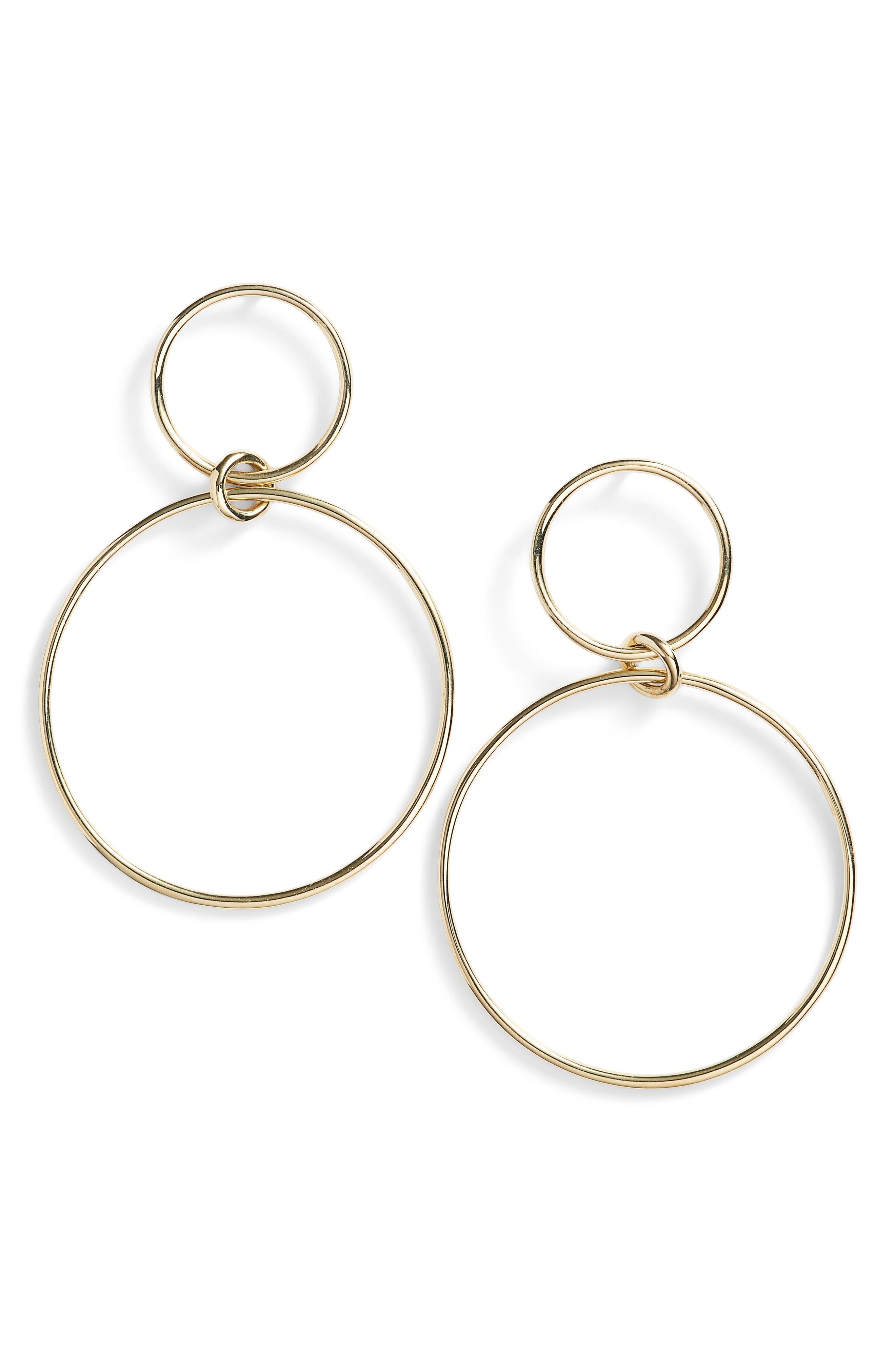Geo Circle Drop Earrings,                             Main thumbnail 1, color,                             Yellow Gold