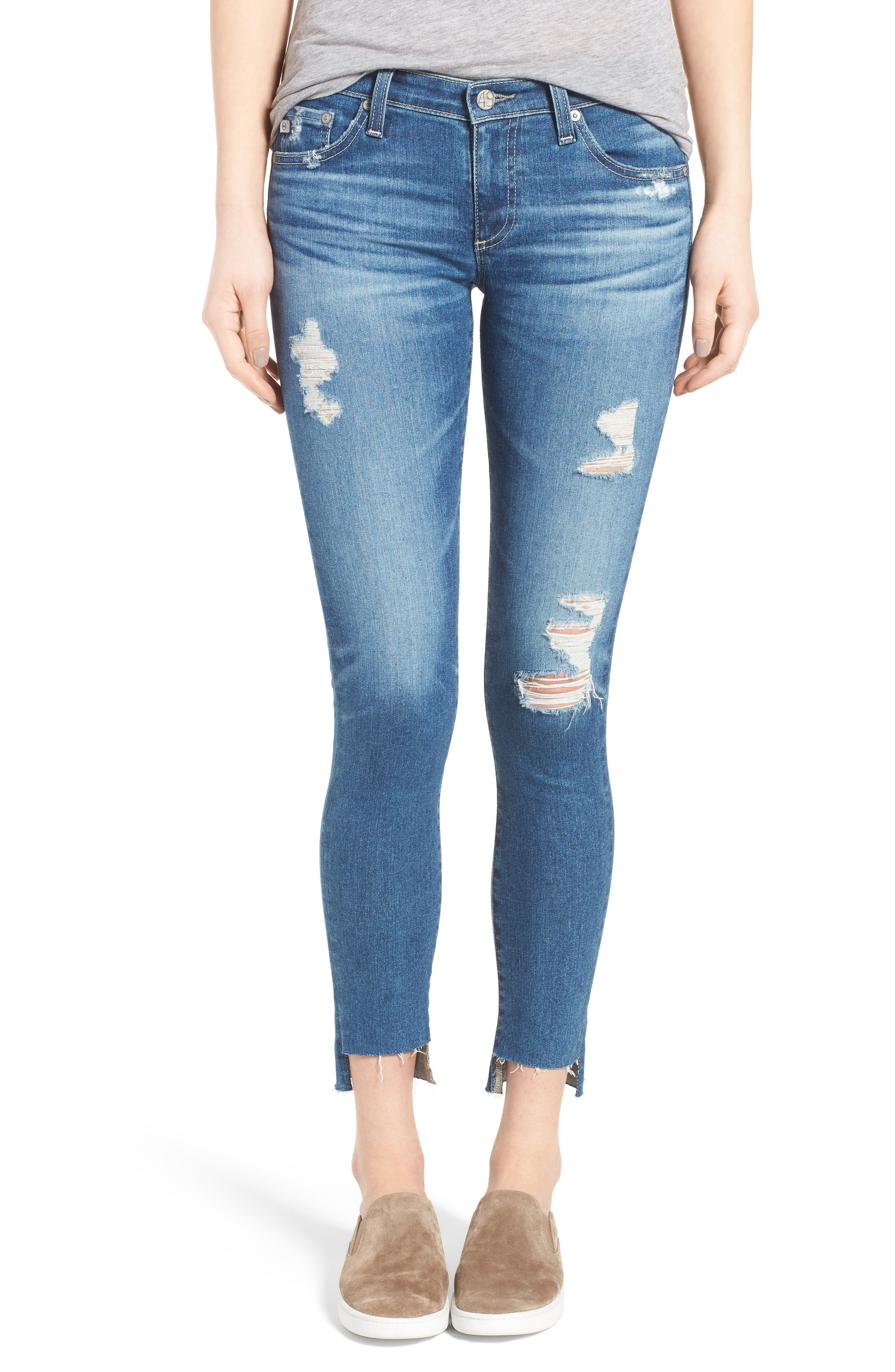 The Legging Step Hem Ankle Skinny Jeans,                             Main thumbnail 1, color,                             Radiant Blue