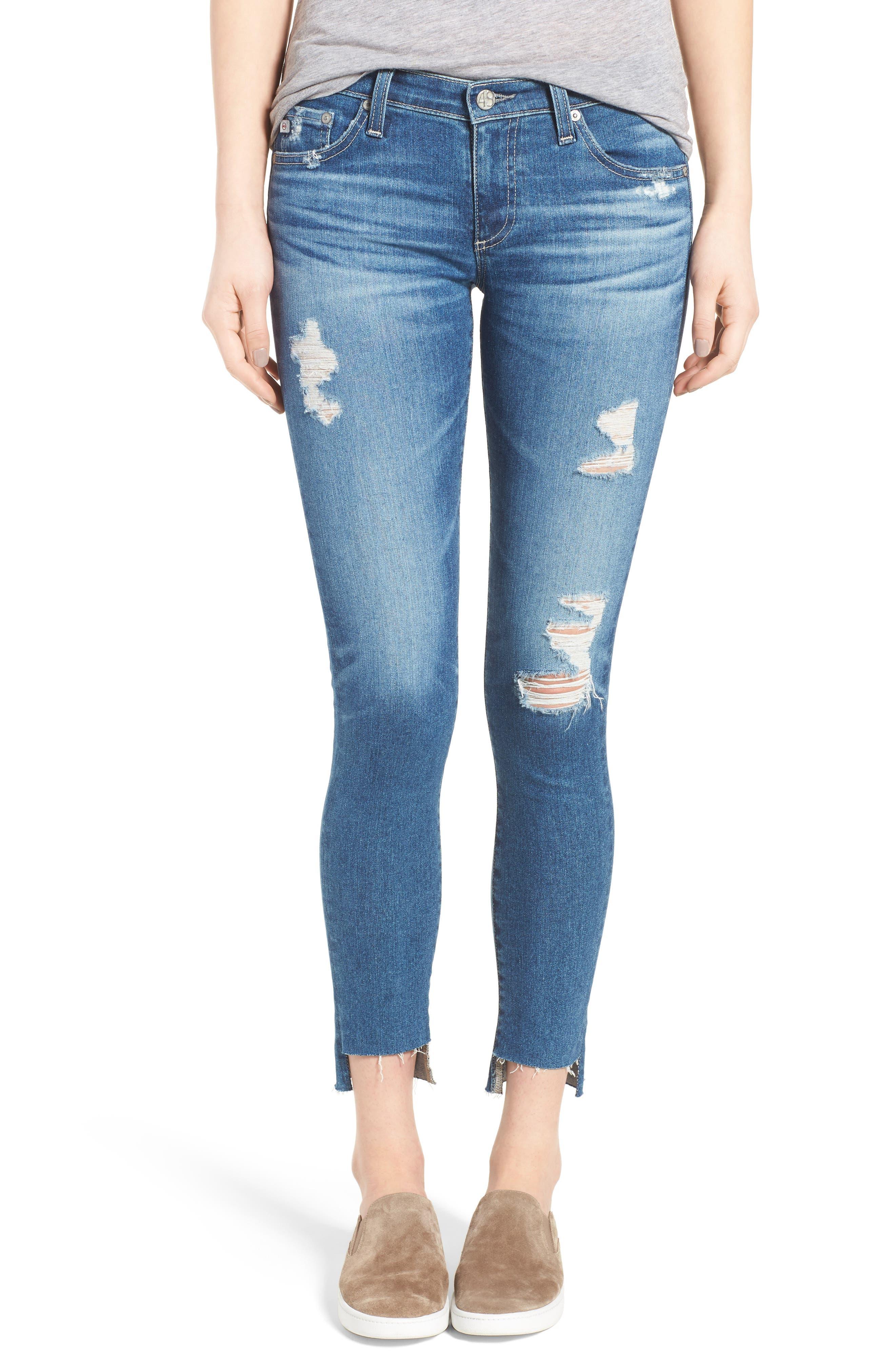 Main Image - AG The Legging Step Hem Ankle Skinny Jeans (Radiant Blue)