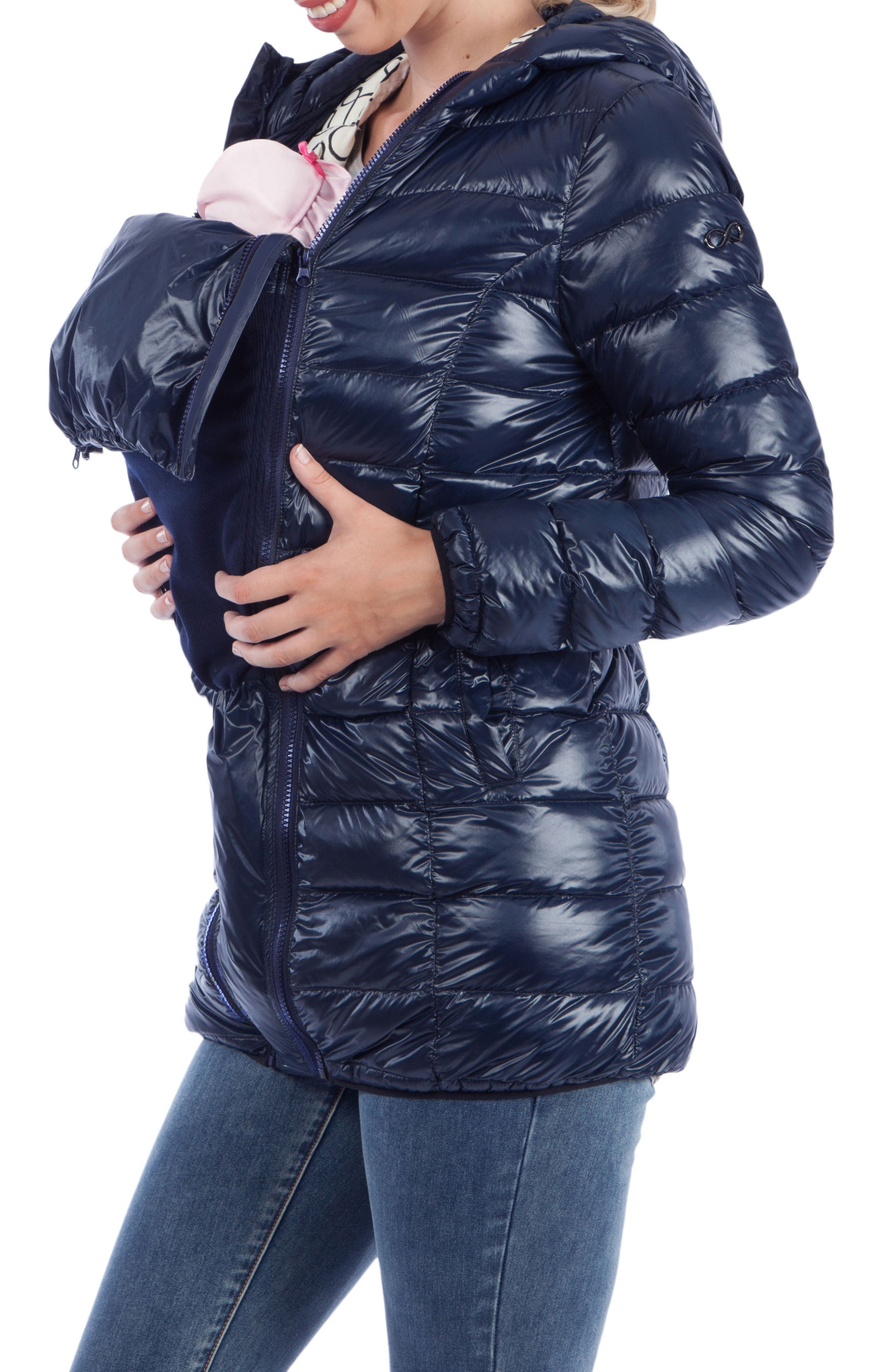 Lightweight Down 3-in-1 Maternity/Nursing Jacket,                             Alternate thumbnail 5, color,                             Navy