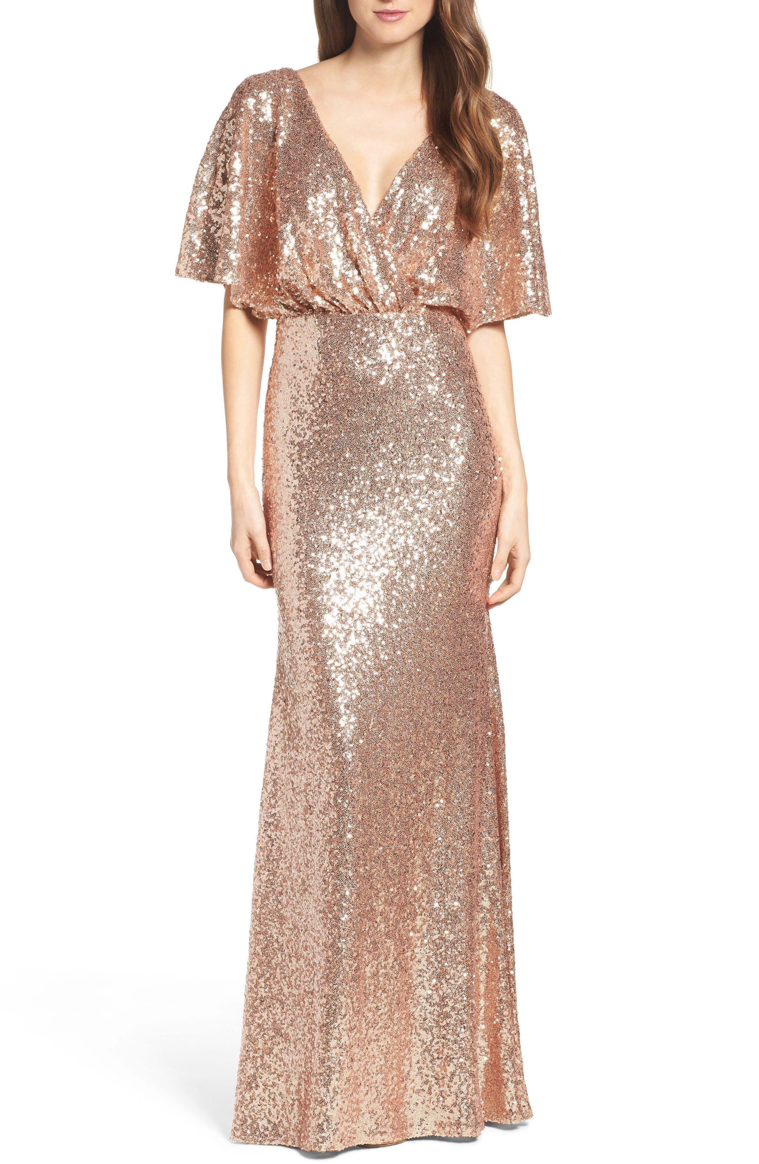 Watters Elson Sequin Blouson Gown