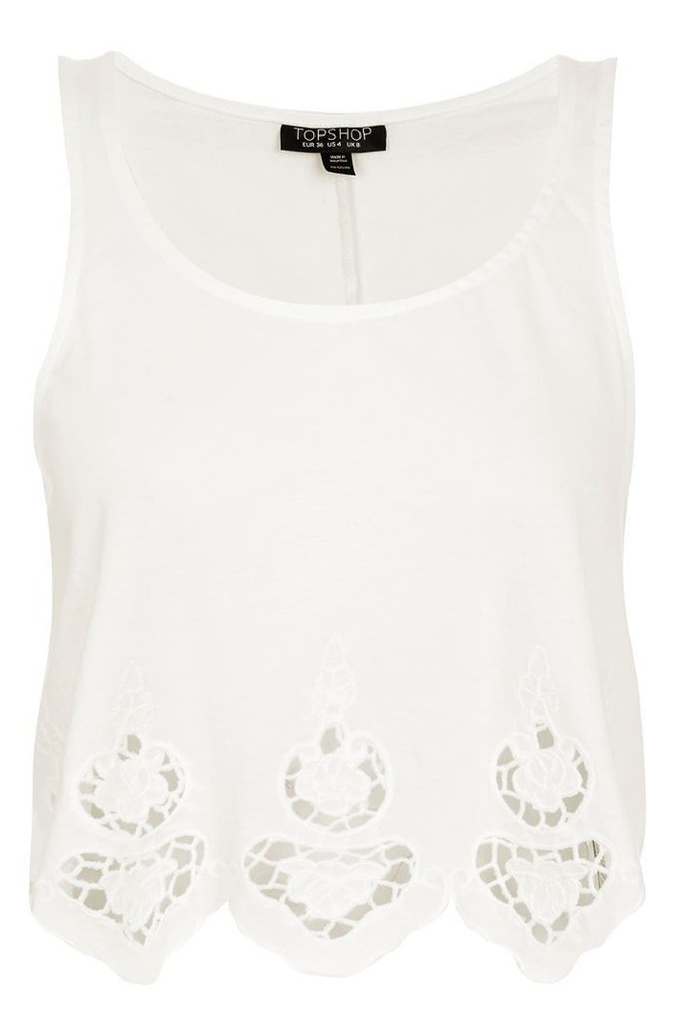 Alternate Image 4  - Topshop Embroidered Scallop Swing Tank