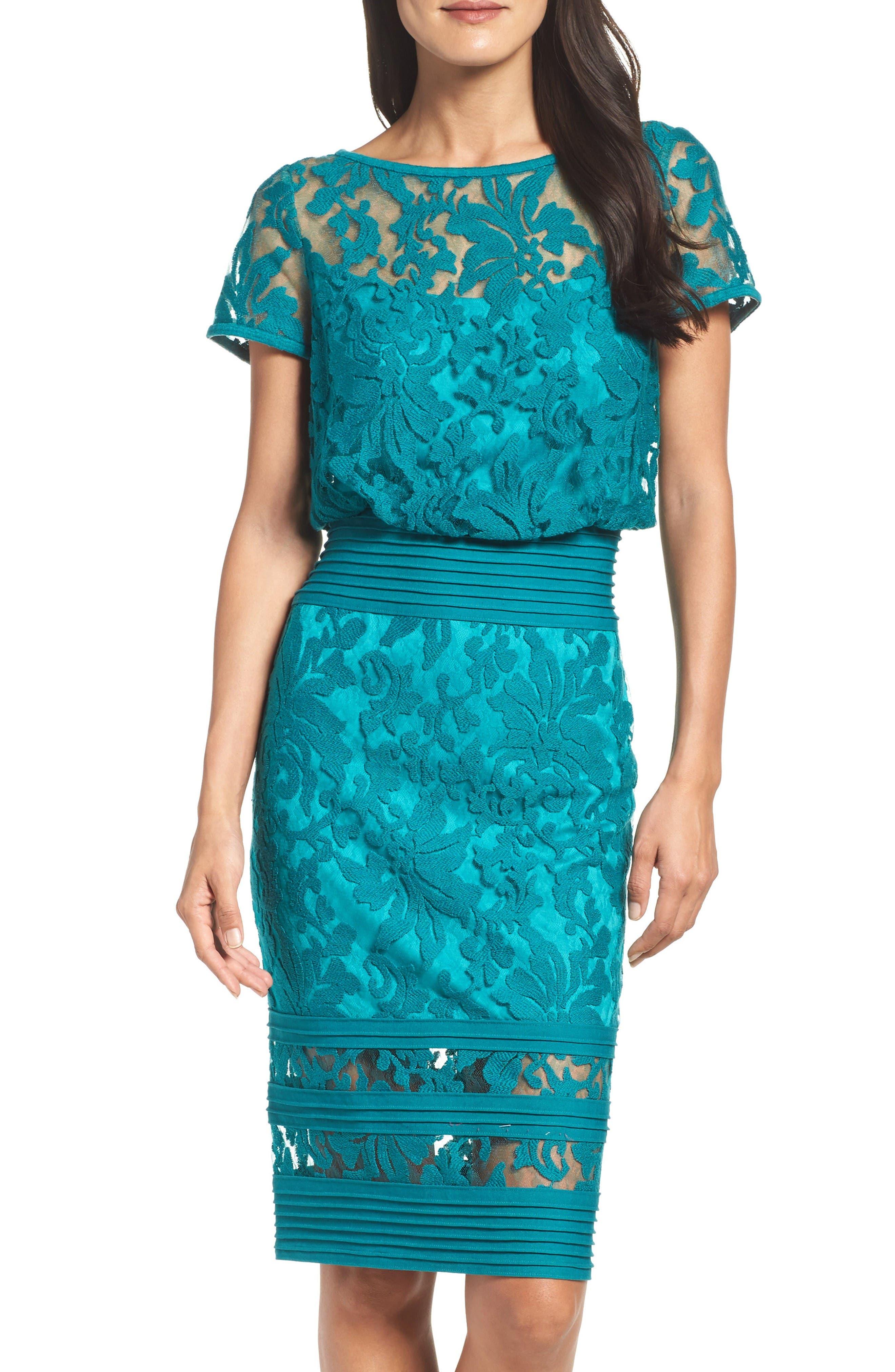 Embroidered Blouson Sheath Dress,                             Main thumbnail 1, color,                             Aqua Blue