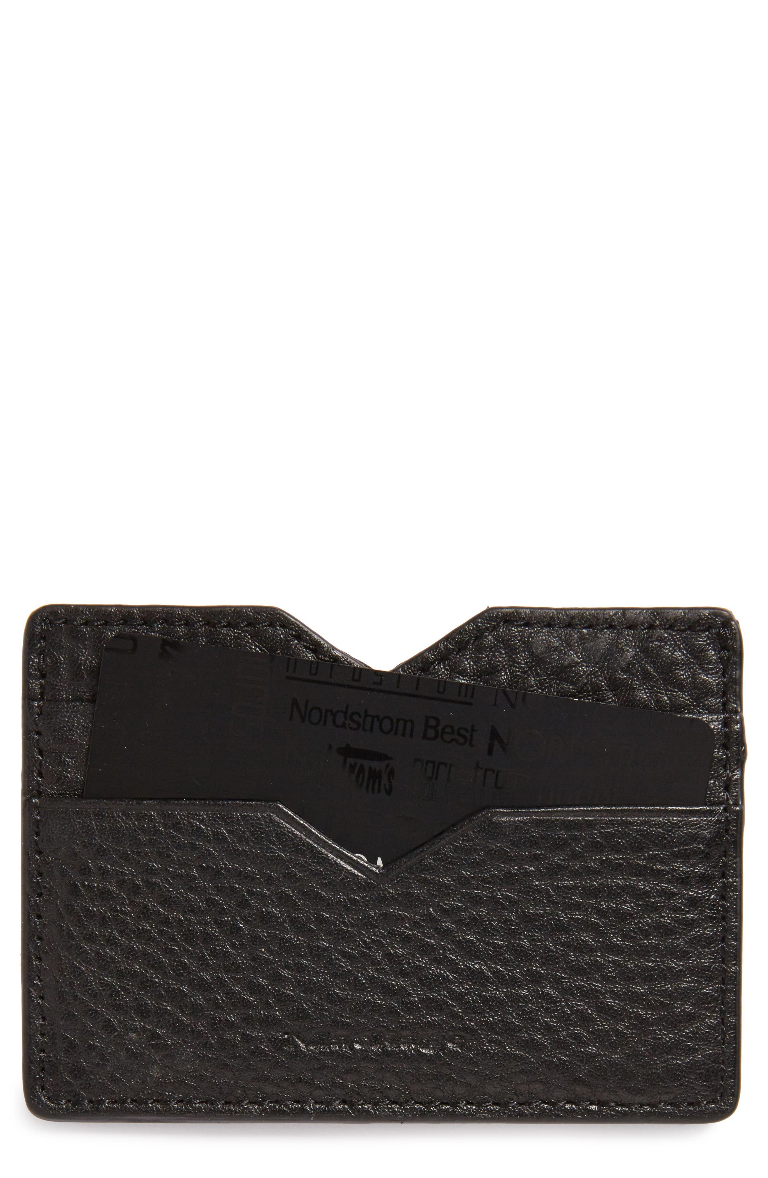 Wes Leather Card Case,                             Main thumbnail 1, color,                             Black