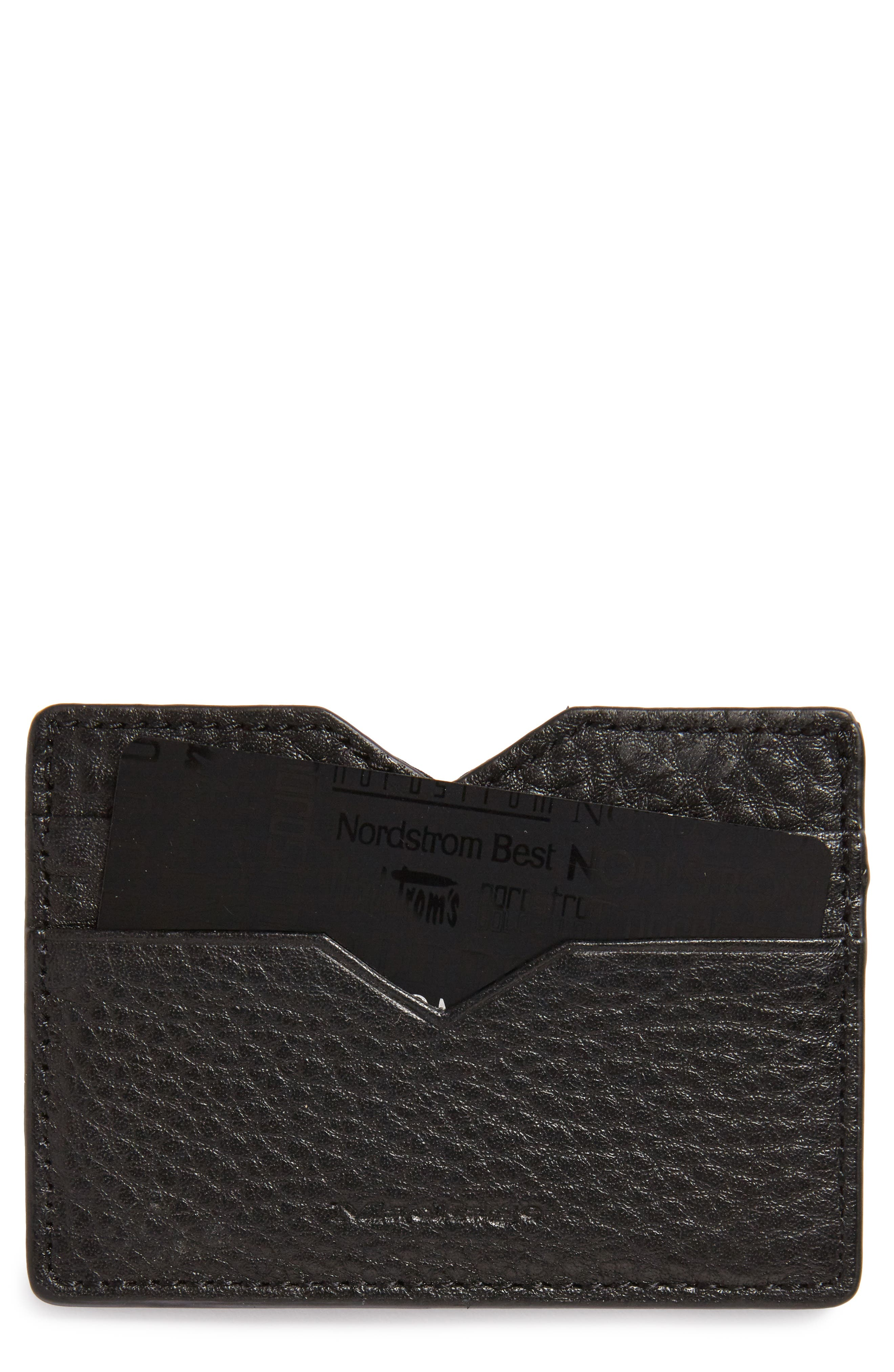 Wes Leather Card Case,                         Main,                         color, Black